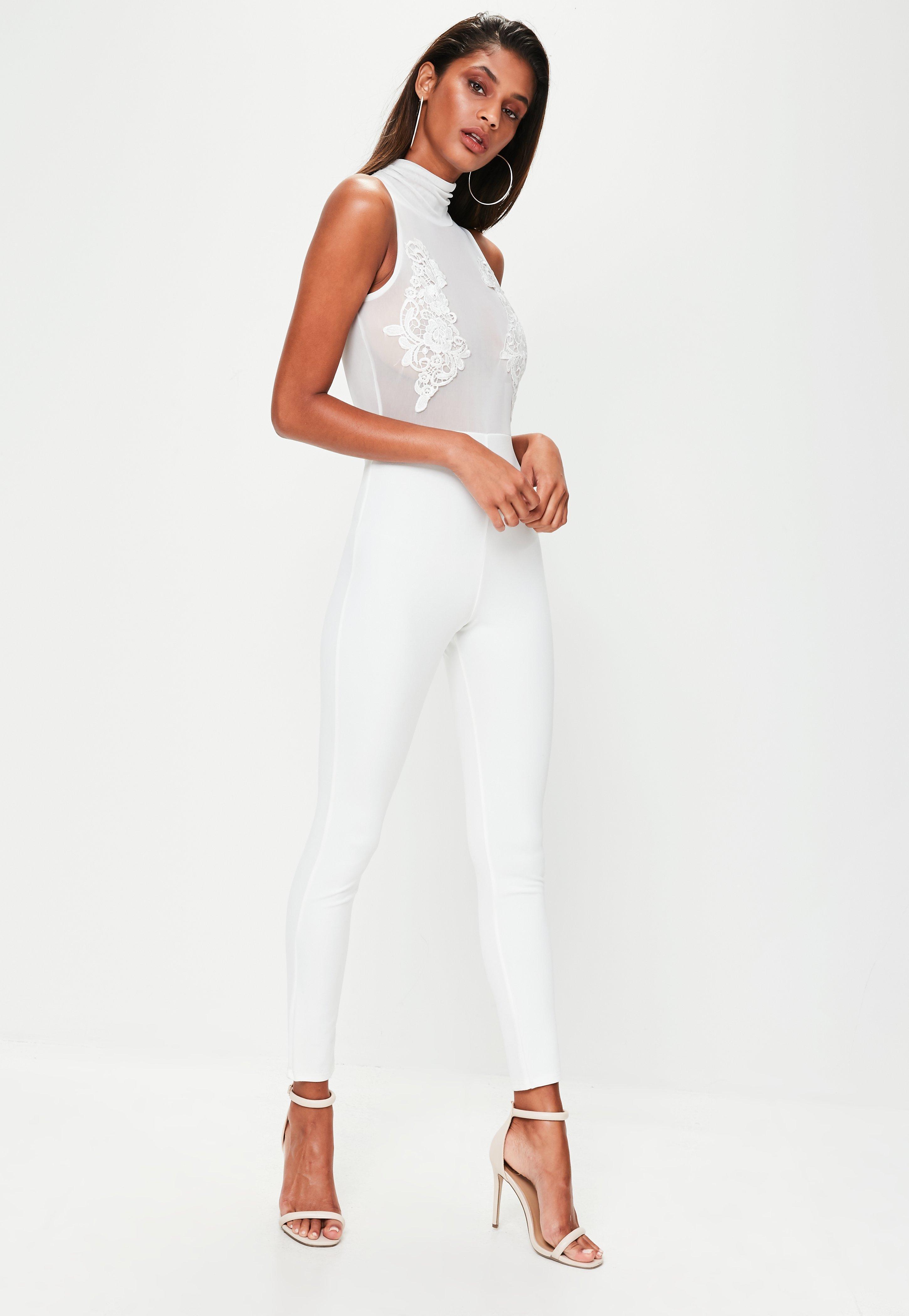 ec1519c0c48e Lyst - Missguided White Mesh Unitard Jumpsuit in White