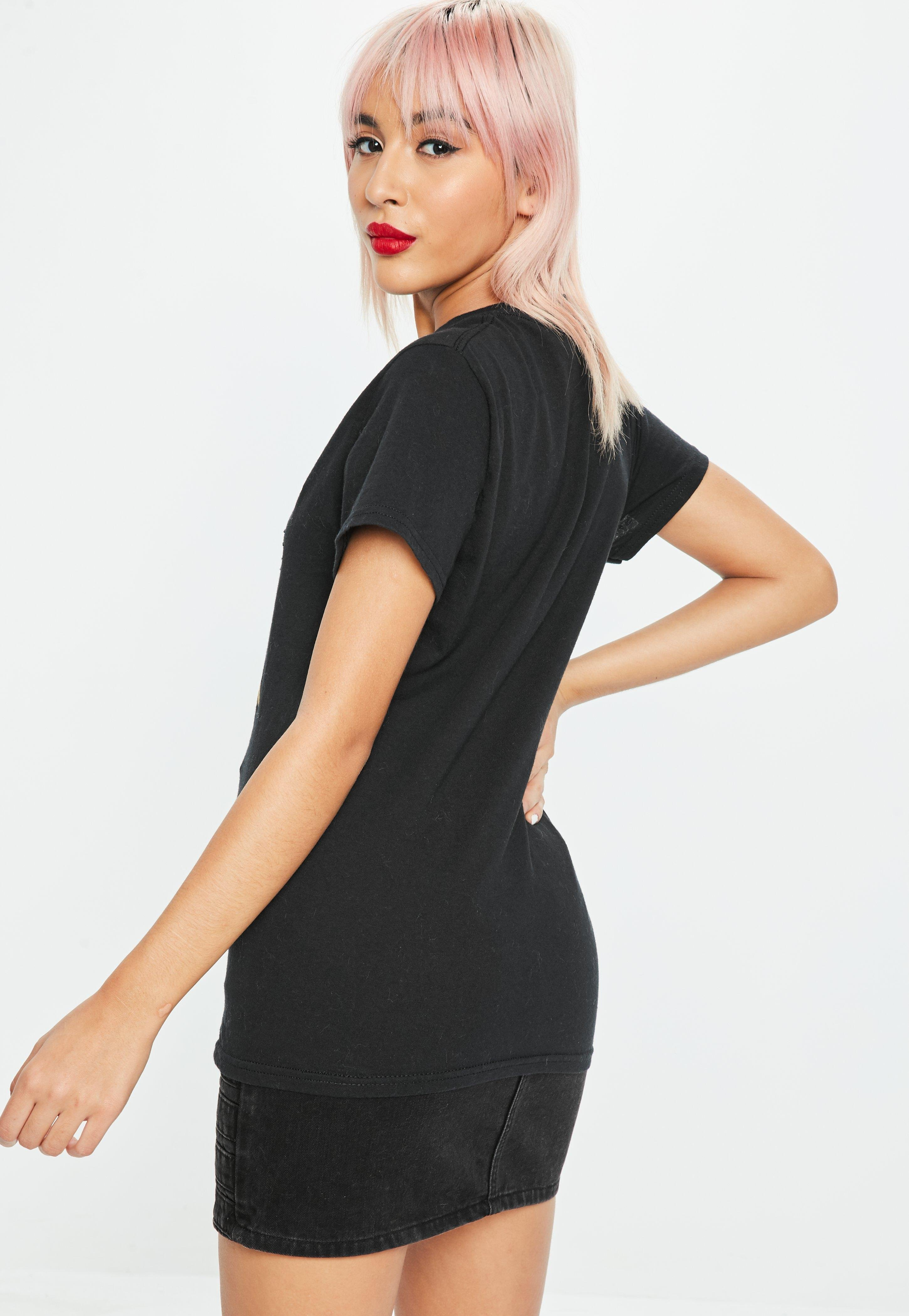 63efec611f8e4b Lyst - Missguided Black Pulp Fiction Graphic Oversized T-shirt in Black