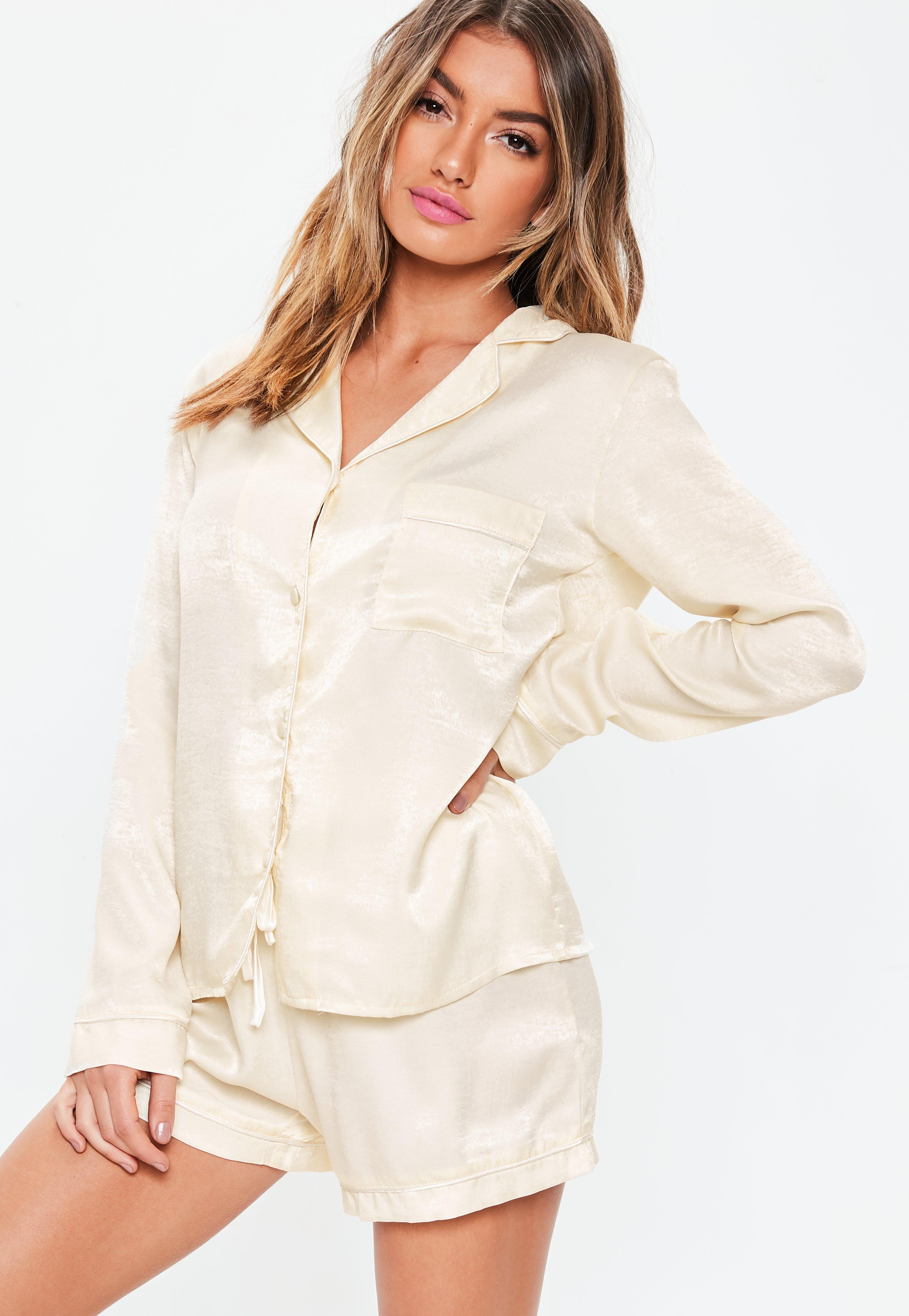 5870469f71f3 Lyst - Missguided Cream Satin Long Sleeve Pyjama Set in Natural
