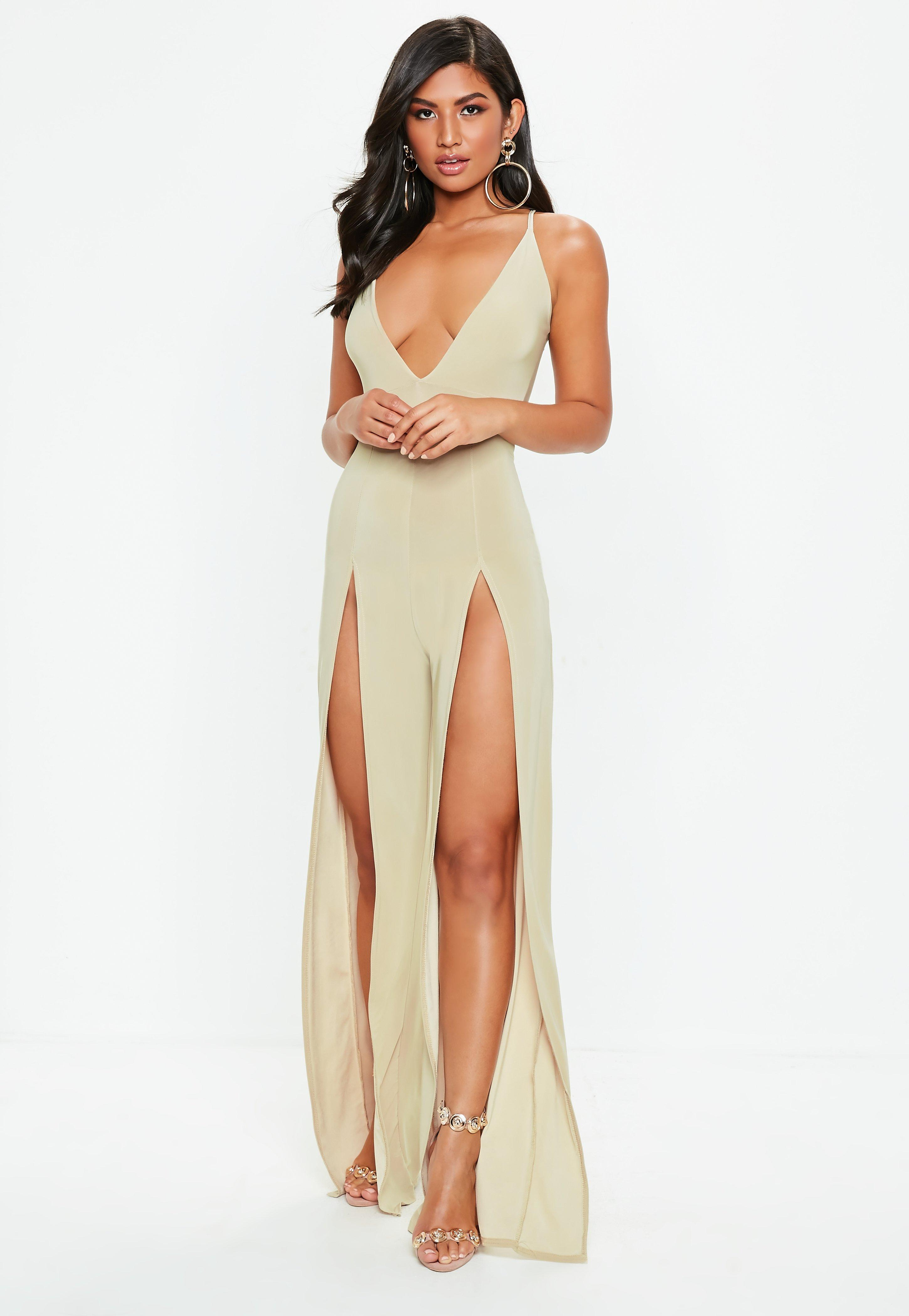 8eea211d83 Lyst - Missguided Beige Split Front Plunge Slinky Jumpsuit in Natural