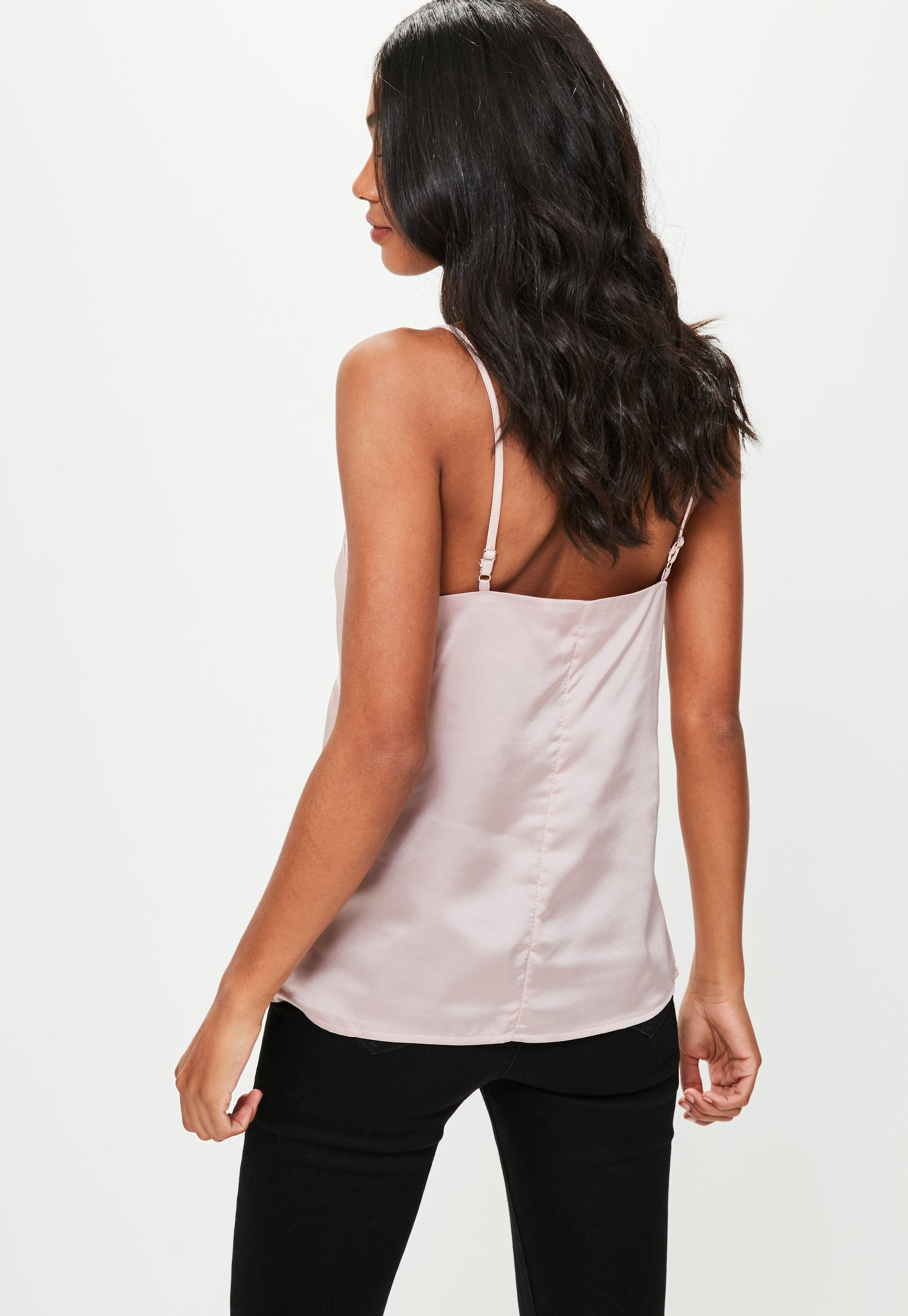 69f064b2b42024 Lyst - Missguided Pink Lace Satin Cami Top in Pink