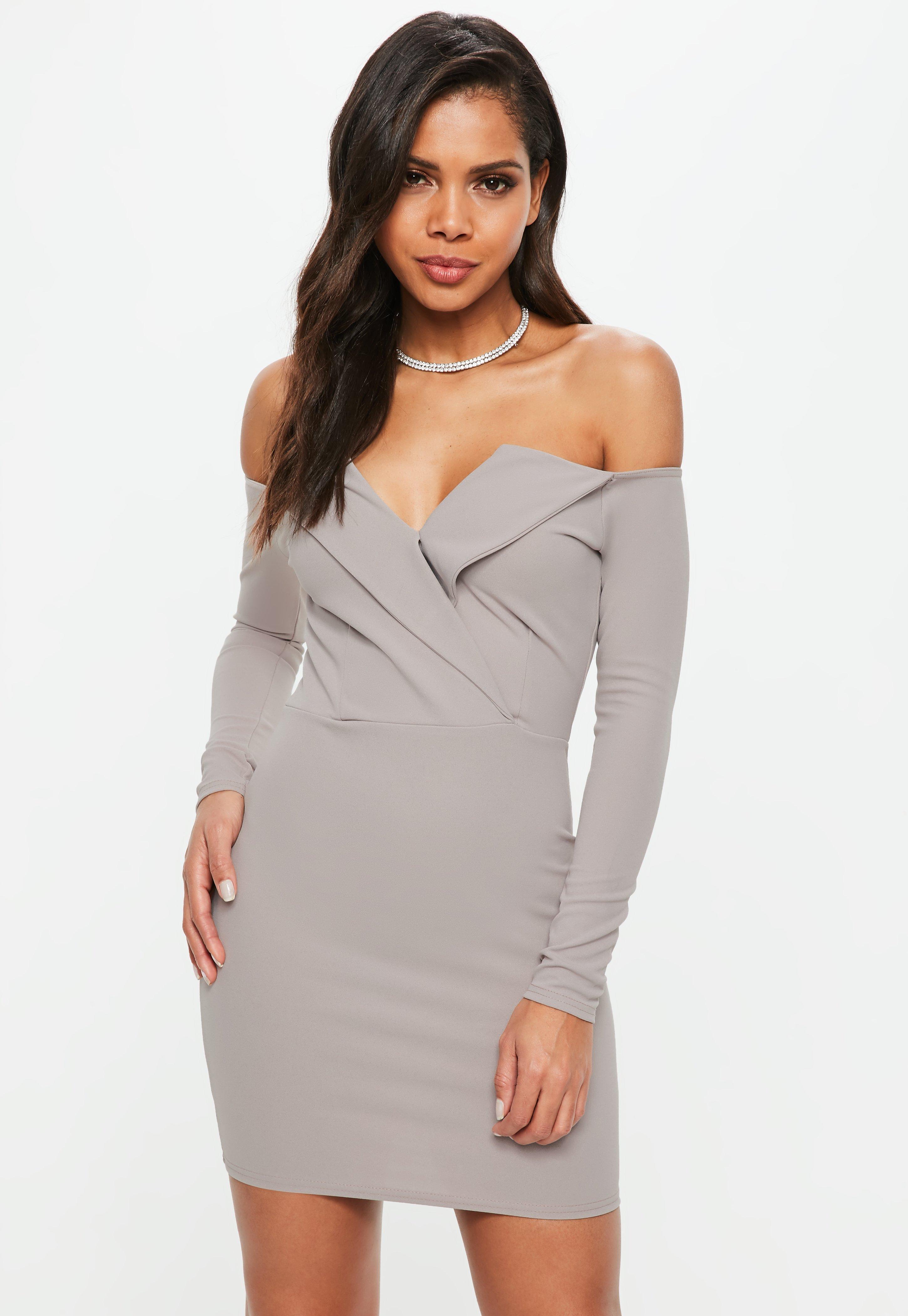 f3010f56e508 Lyst - Missguided Grey Bardot Foldover Wrap Dress in Gray