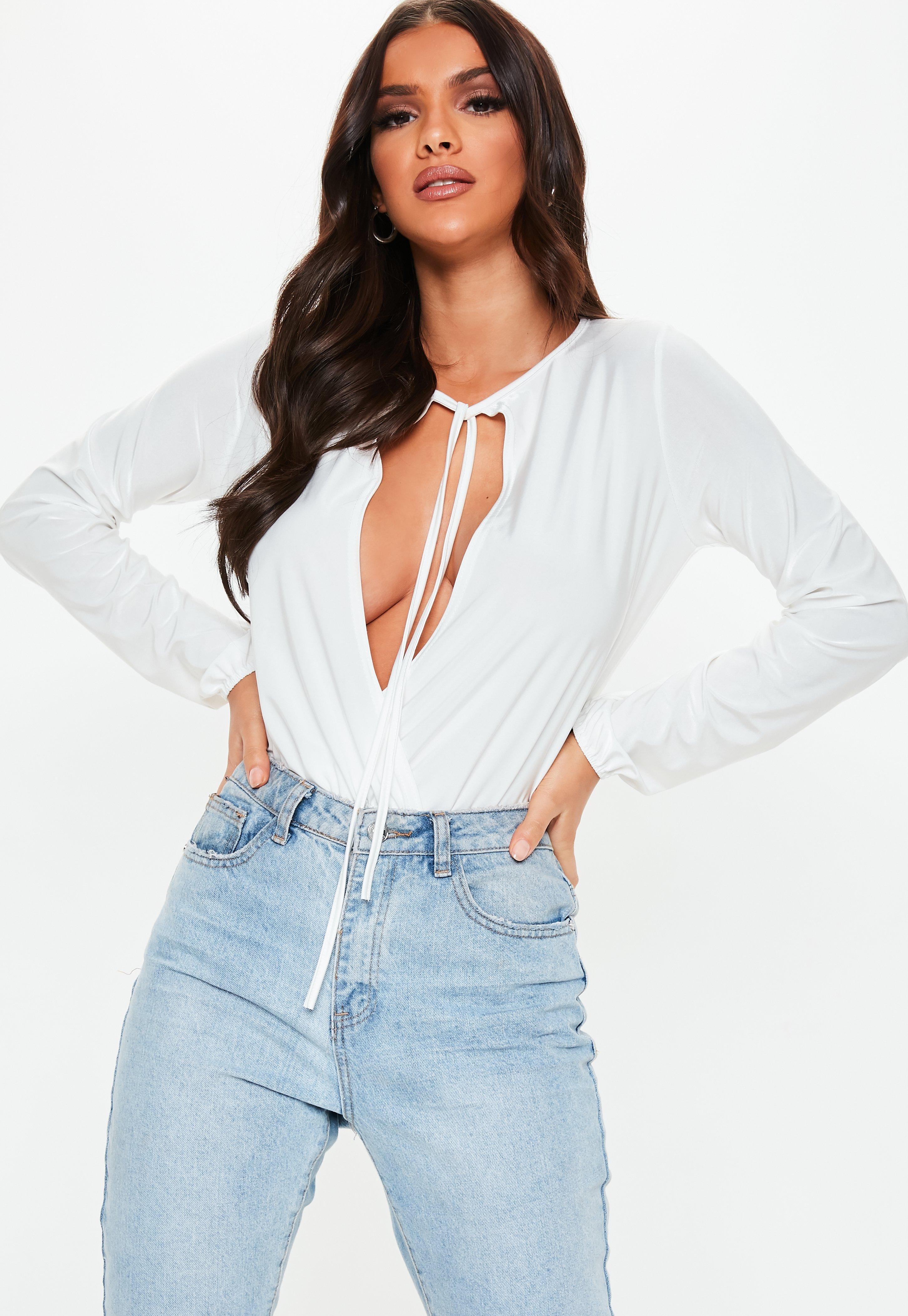 7affb1b39085f4 Lyst - Missguided White Tie Front Wrap Blouse Bodysuit in White