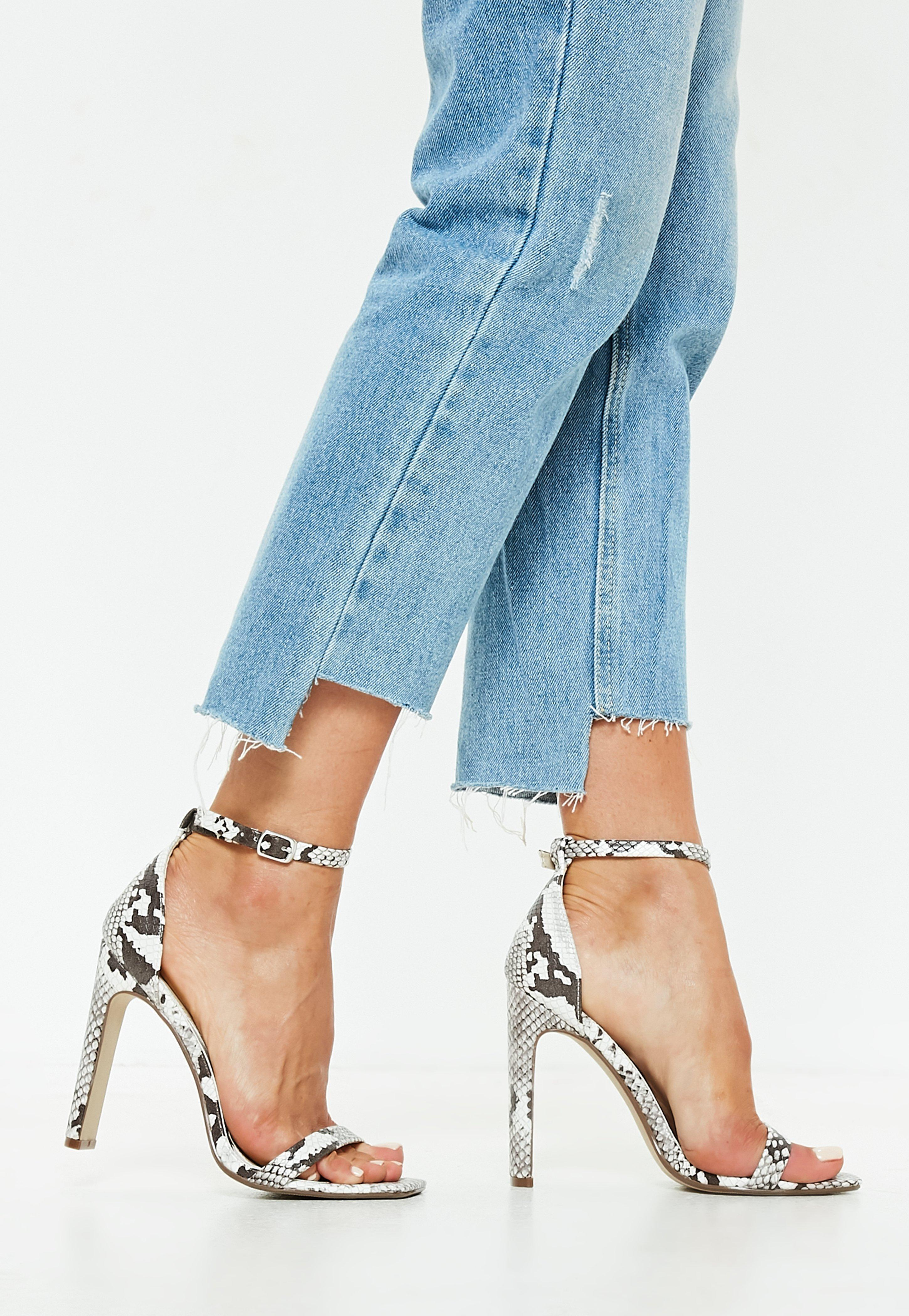 787cc0c97af Lyst - Missguided Nude Snakeskin Illusion Barely There Heels in Blue