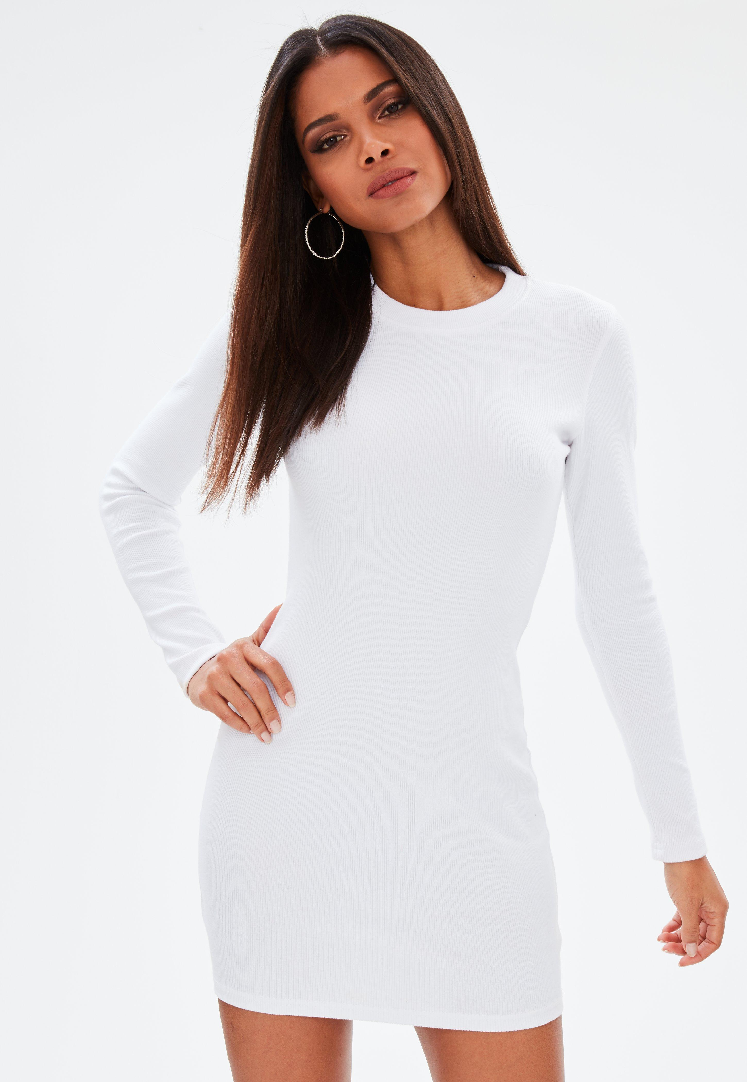9776d81e5921 Lyst - Missguided White Long Sleeve Ribbed Mini Dress in White