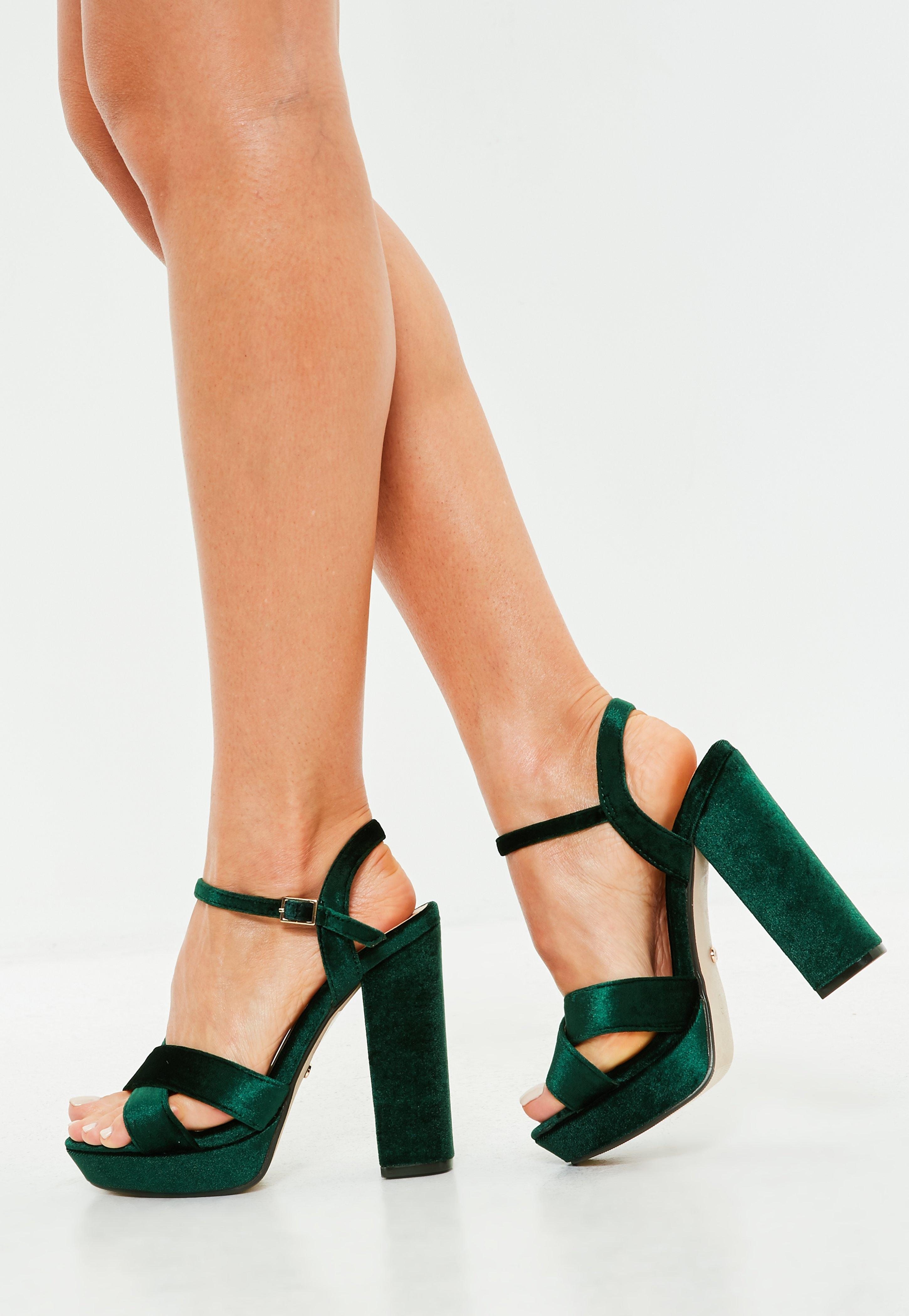 a77d3edf9fd Lyst - Missguided Green Velvet Cross Front Heeled Sandals in Green