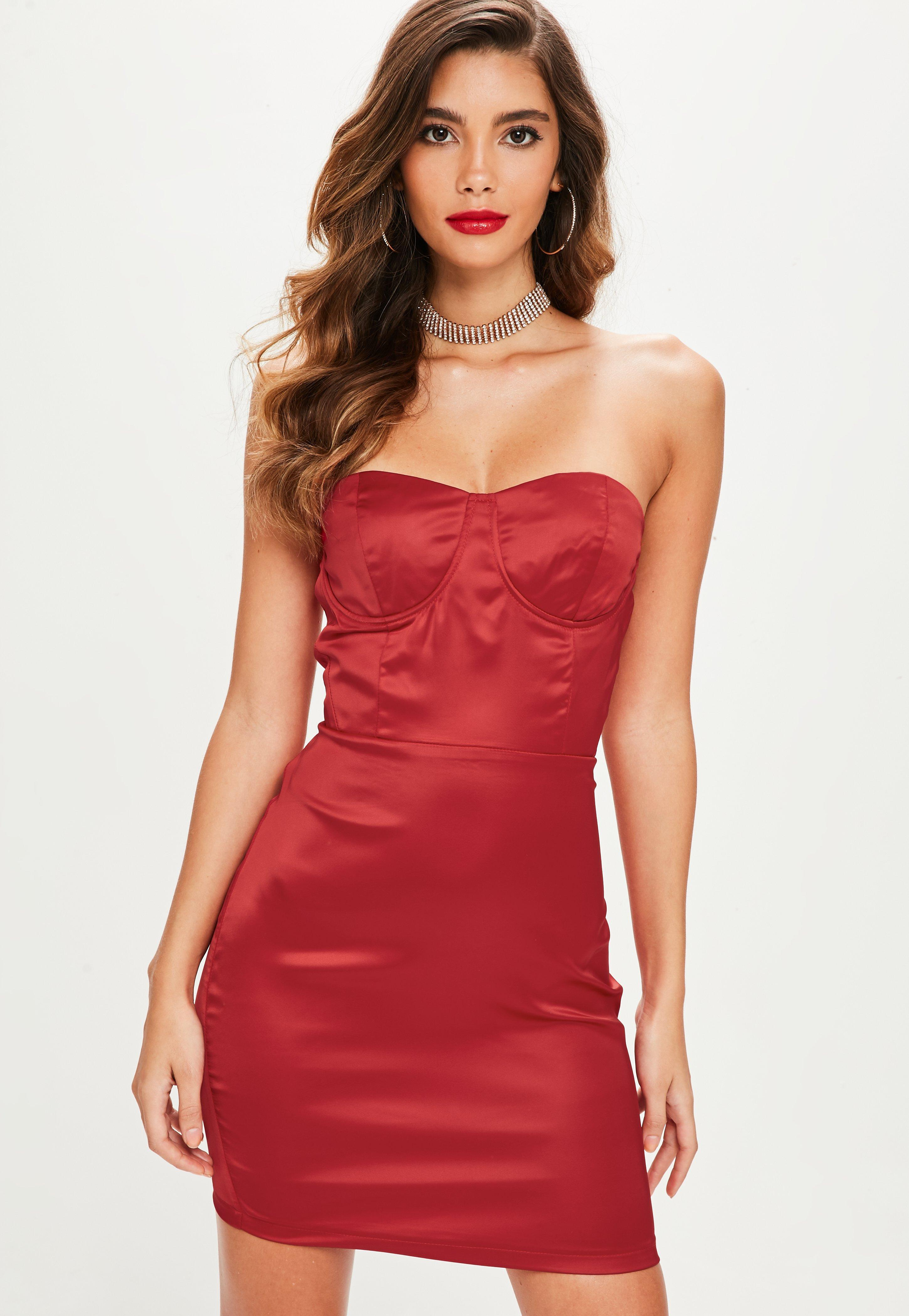 Missguided Red Satin Bustcup Bandeau Bodycon Dress In Red