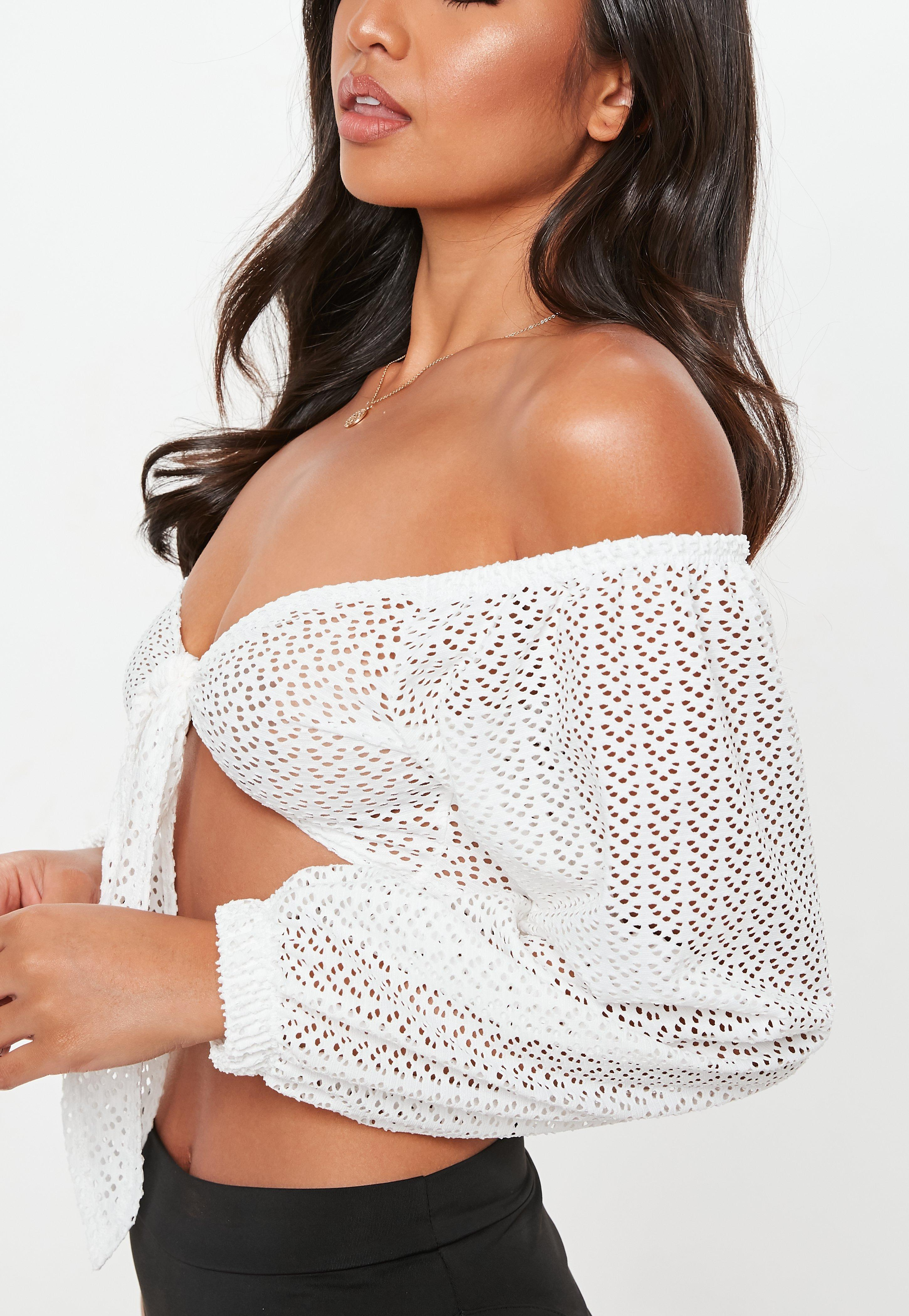 841150b103f4b Lyst - Missguided White Bardot Tie Front Crochet Top in White