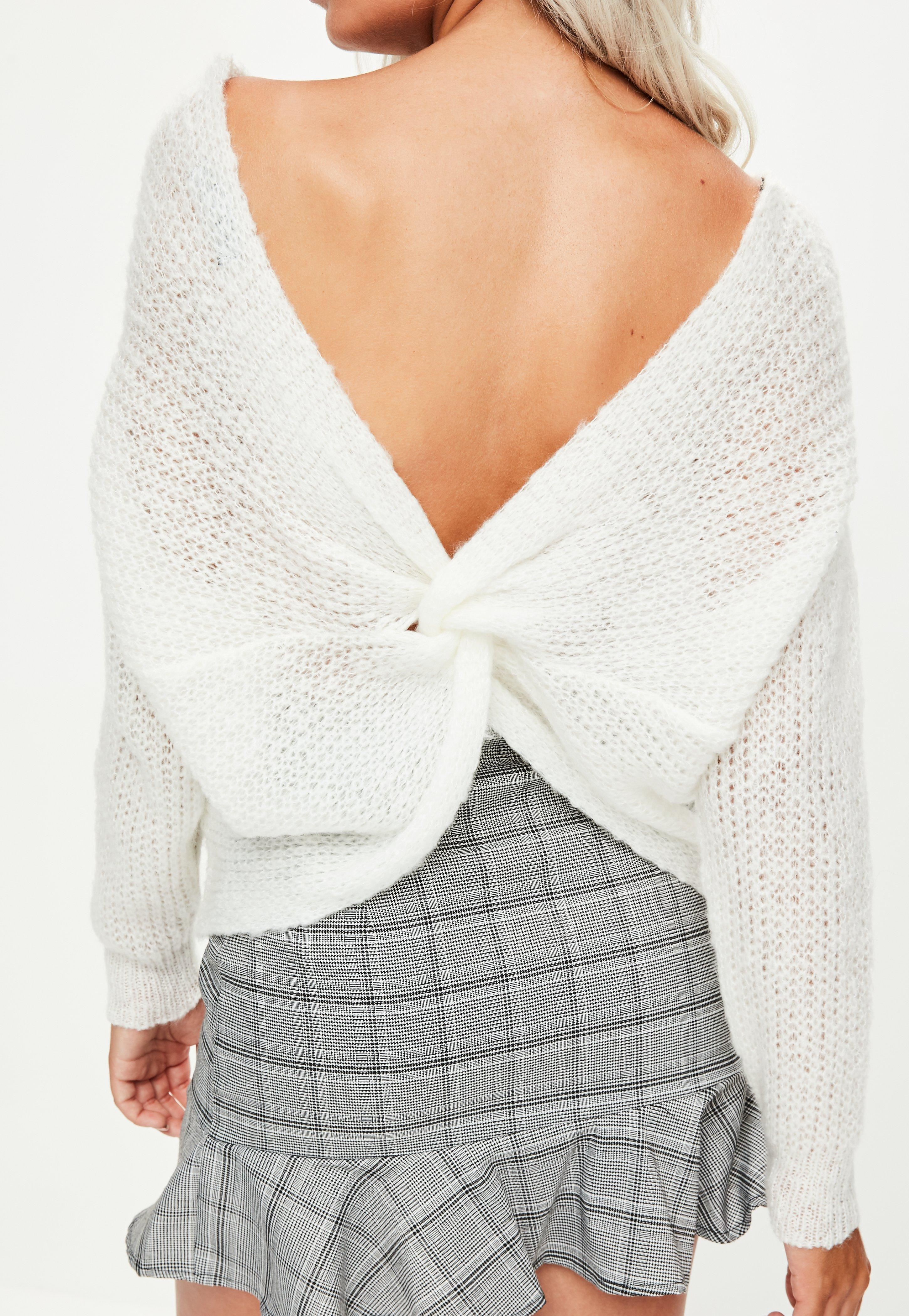 Lyst - Missguided White Fluffy Yarn Twist Back Jumper in White fb7cac968