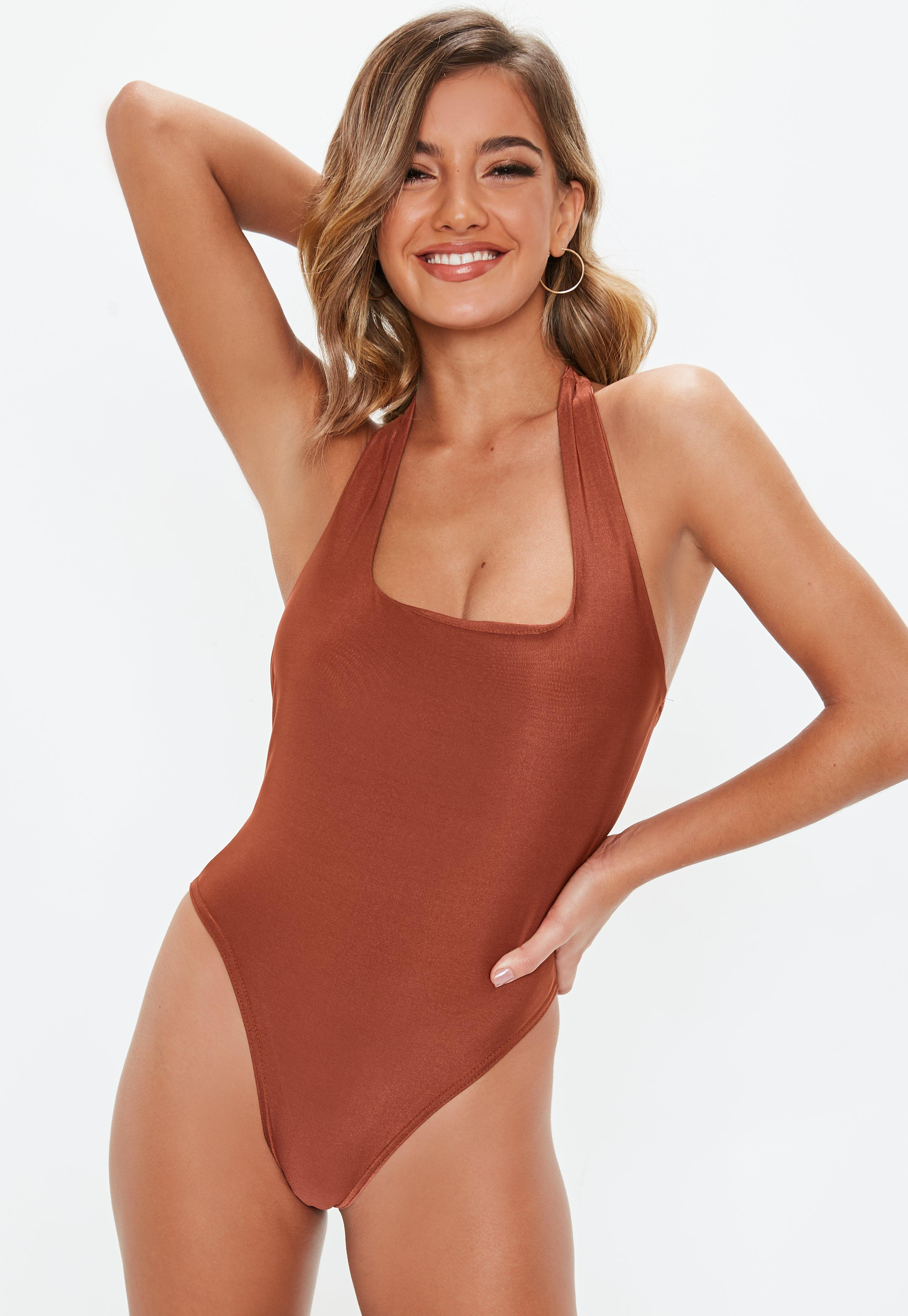 Lyst - Missguided Rust Slinky Strappy Bodysuit in Brown d2b5039f4