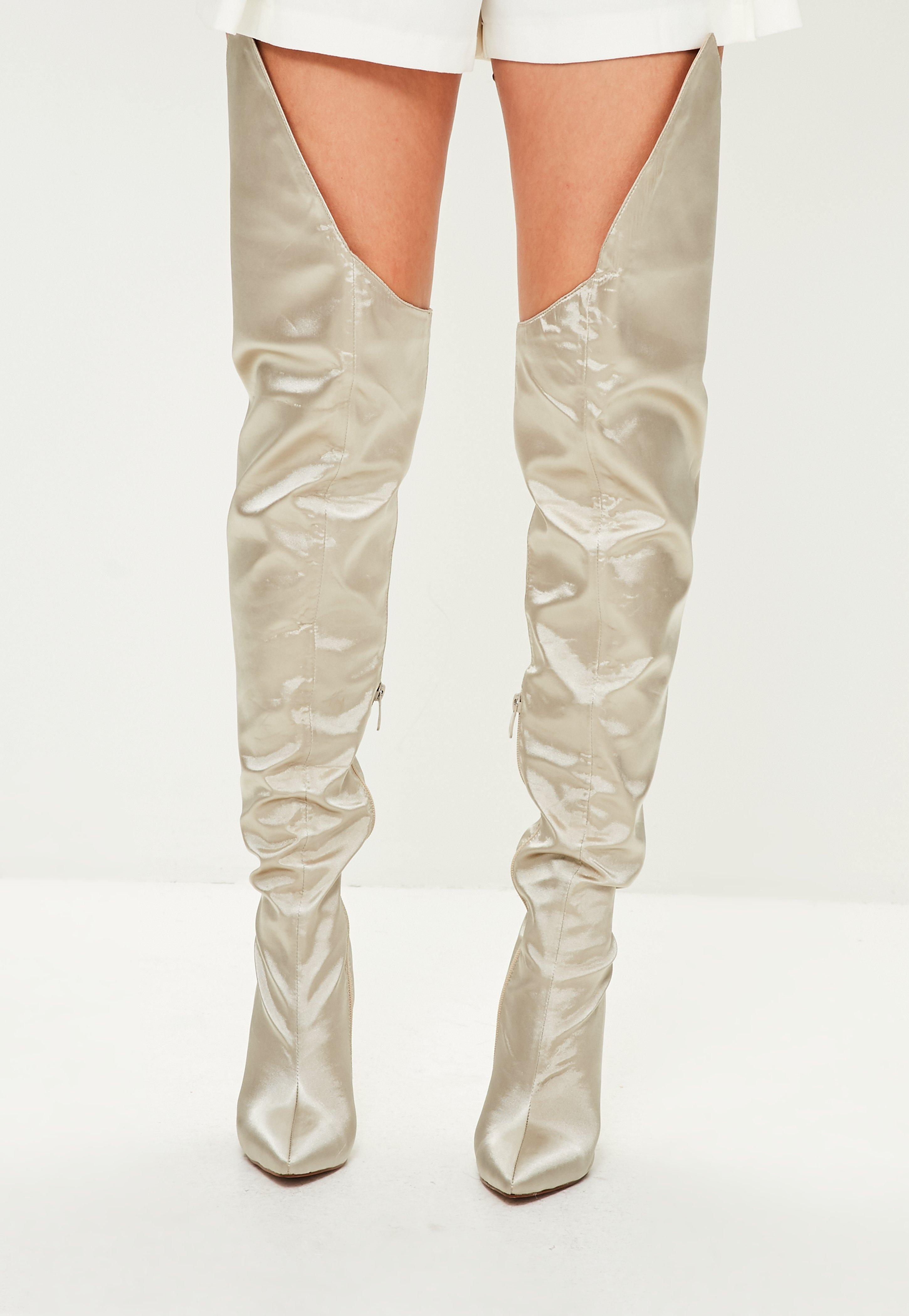 dab7f17481c Lyst - Missguided Beige Satin Over The Knee Boots in Natural