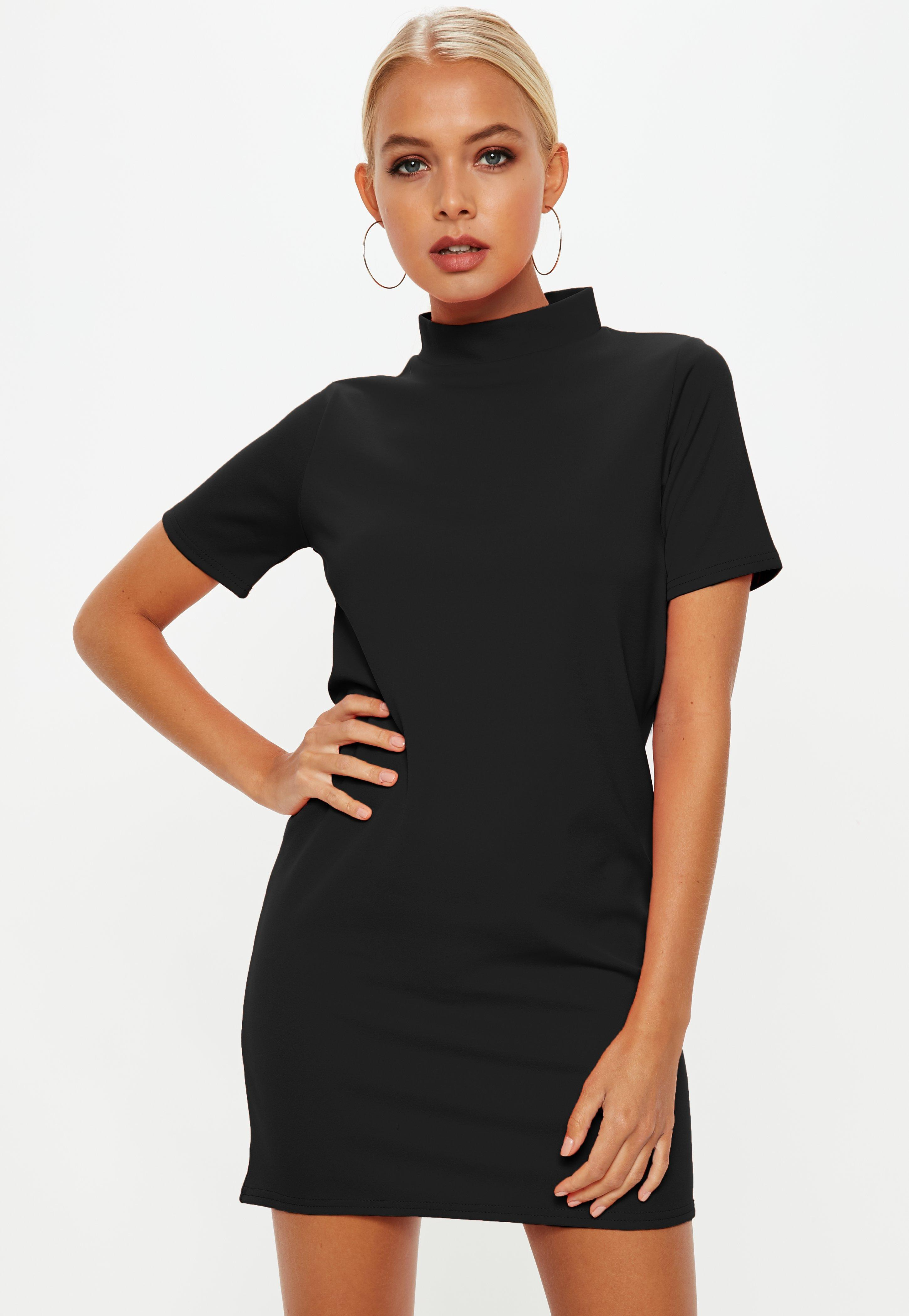 10d964003f Lyst - Missguided Black High Neck Scuba Shift Dress in Black