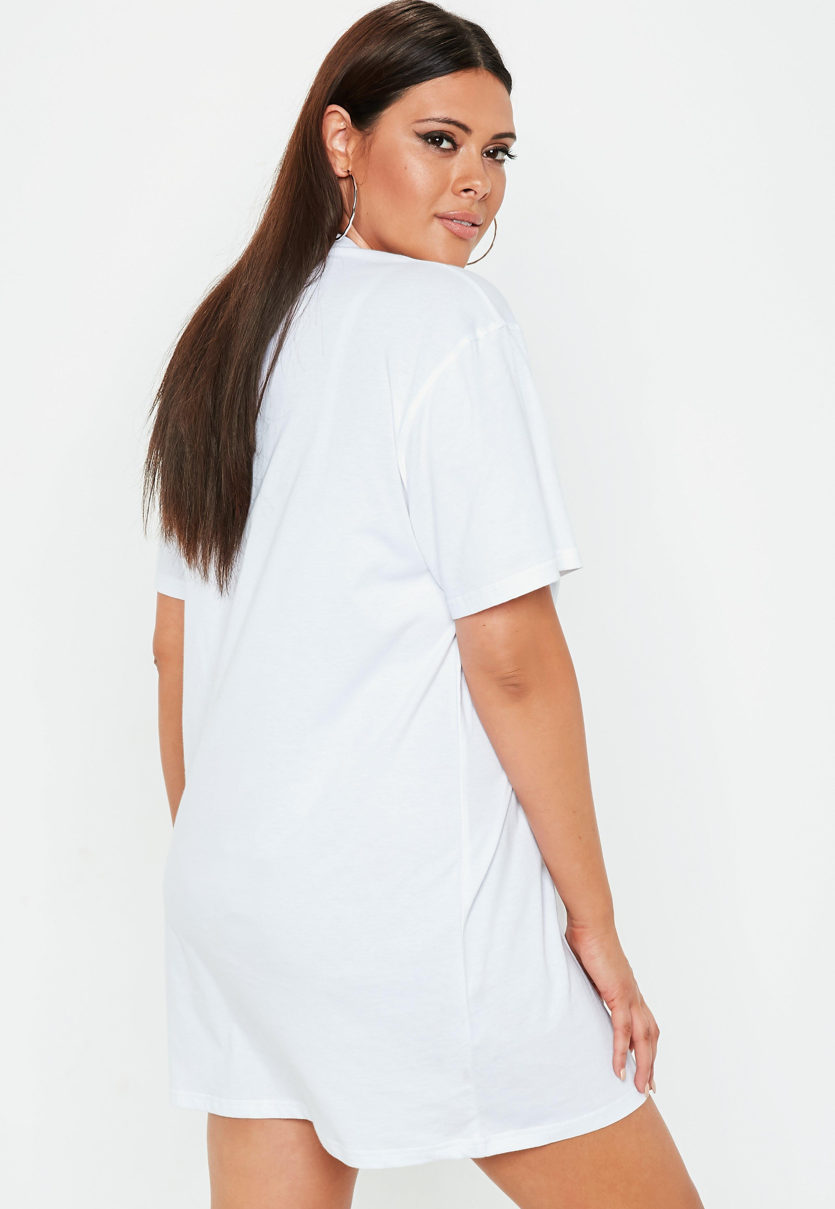 abc413cb8 Missguided Plus Size White Usa Slogan Oversized T Shirt Dress in ...