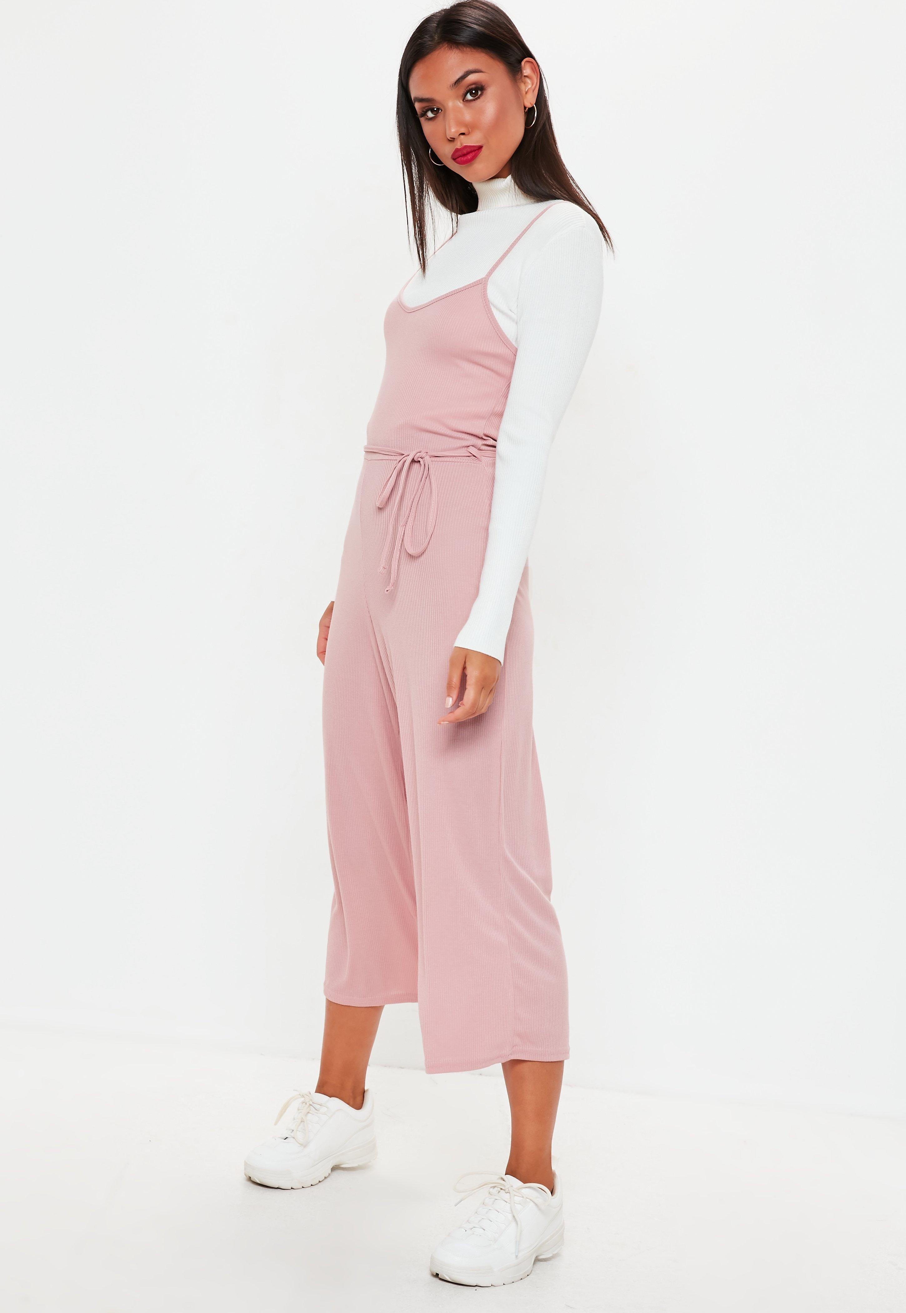 ccfe1dcc2c9f Lyst - Missguided Pink Rib Cami Culotte Jumpsuit in Pink - Save 27%