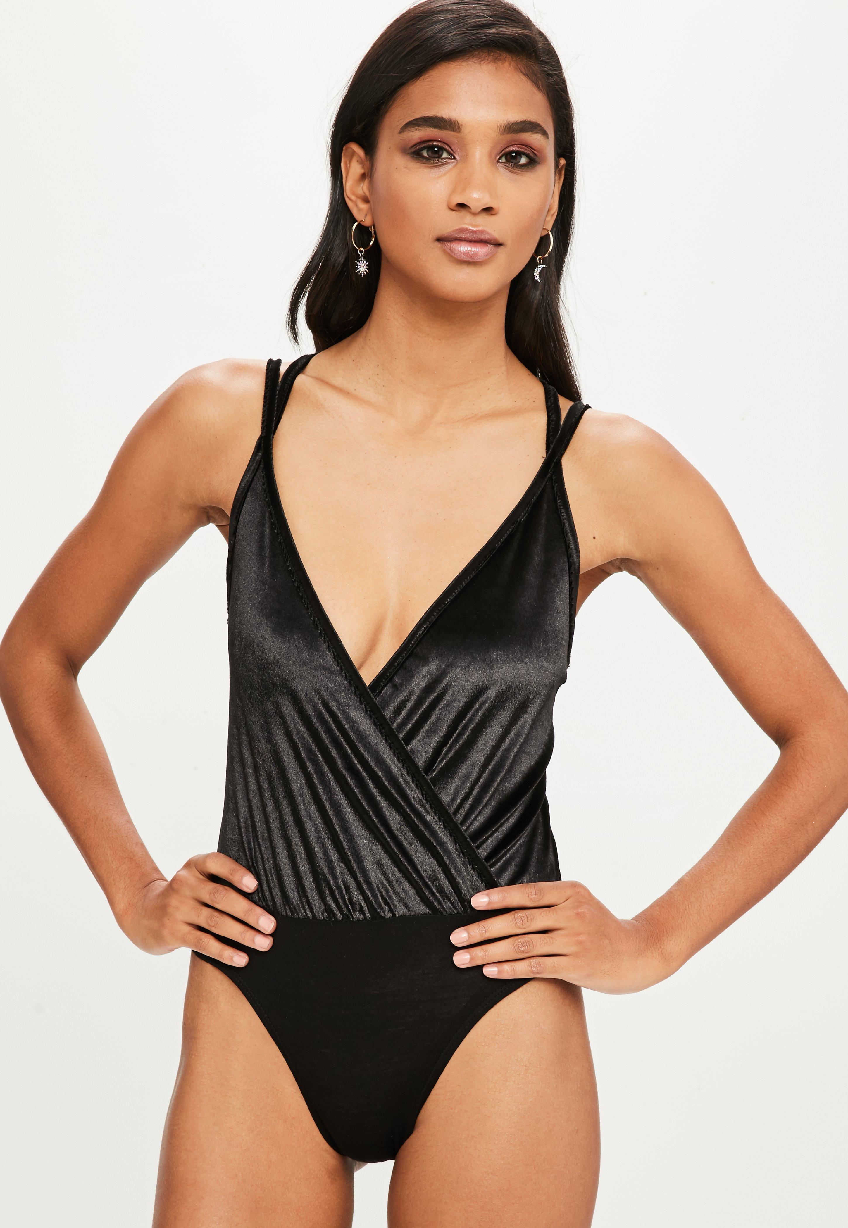 670f6ddea26 Lyst - Missguided Black Velvet Wrap Front Bodysuit in Black