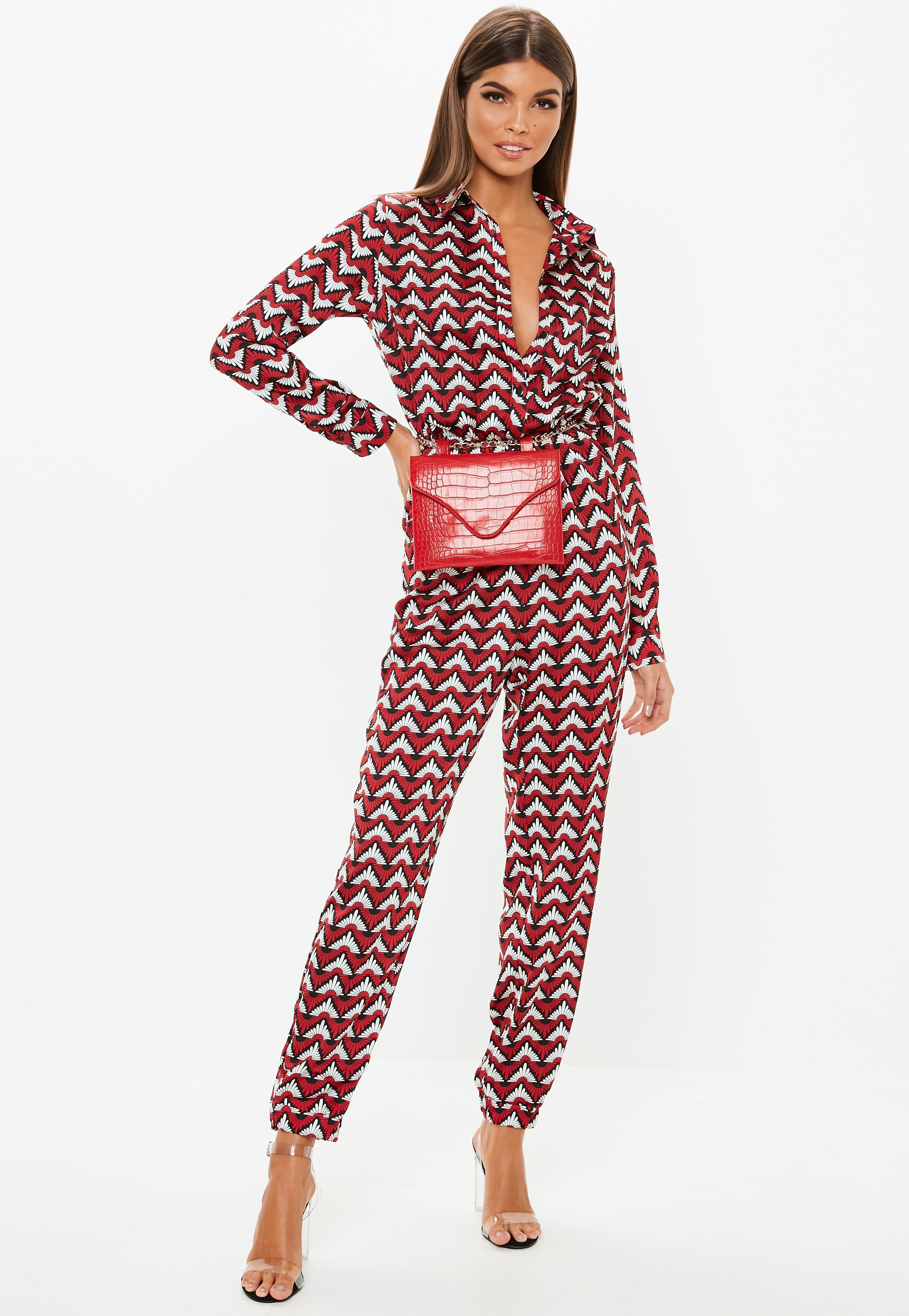 d67ab98ca6 Lyst - Missguided Red Geometric Print Utility Jumpsuit in Red