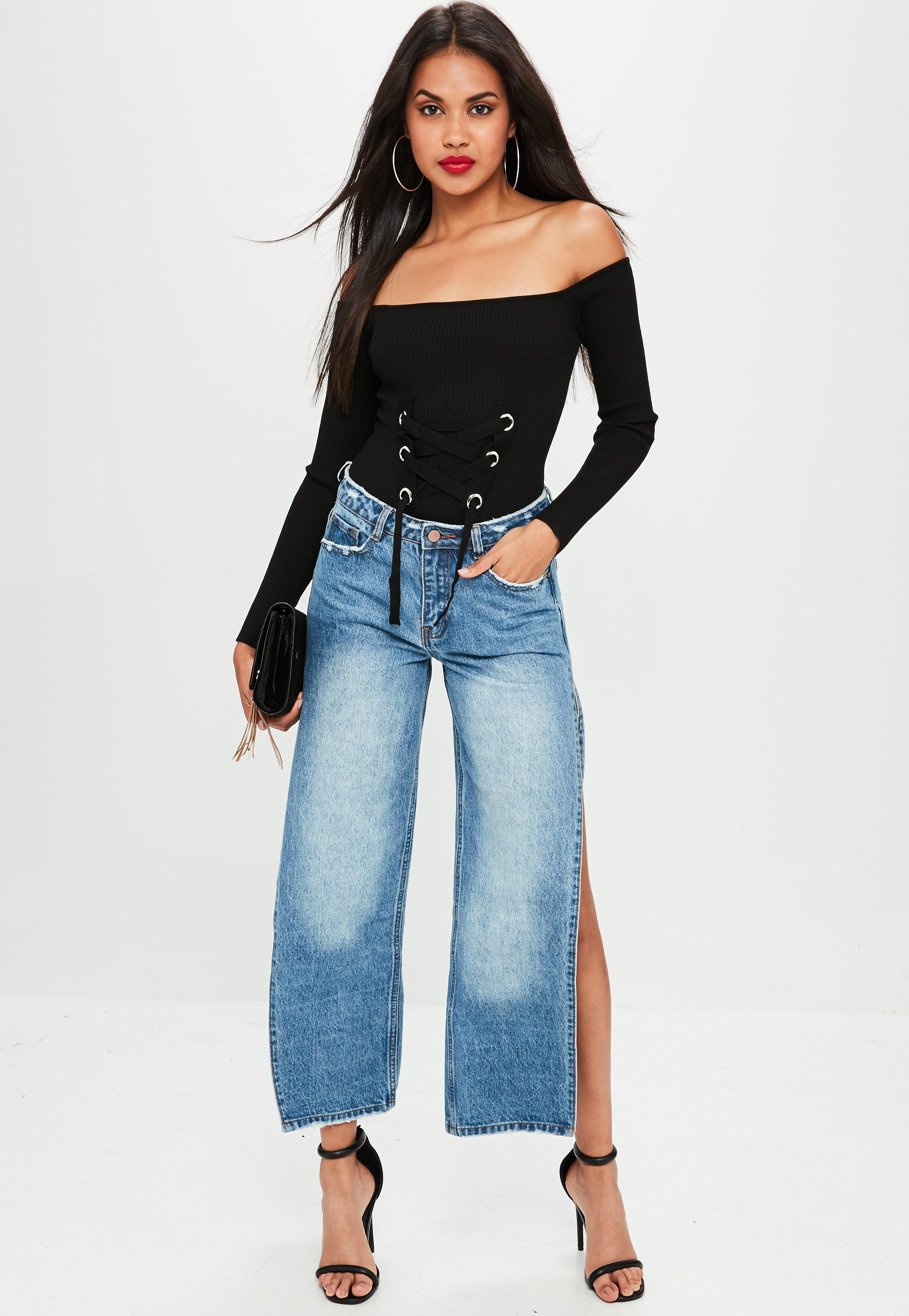 5f6103a233 Lyst - Missguided Black Lace Up Bardot Knitted Bodysuit in Black