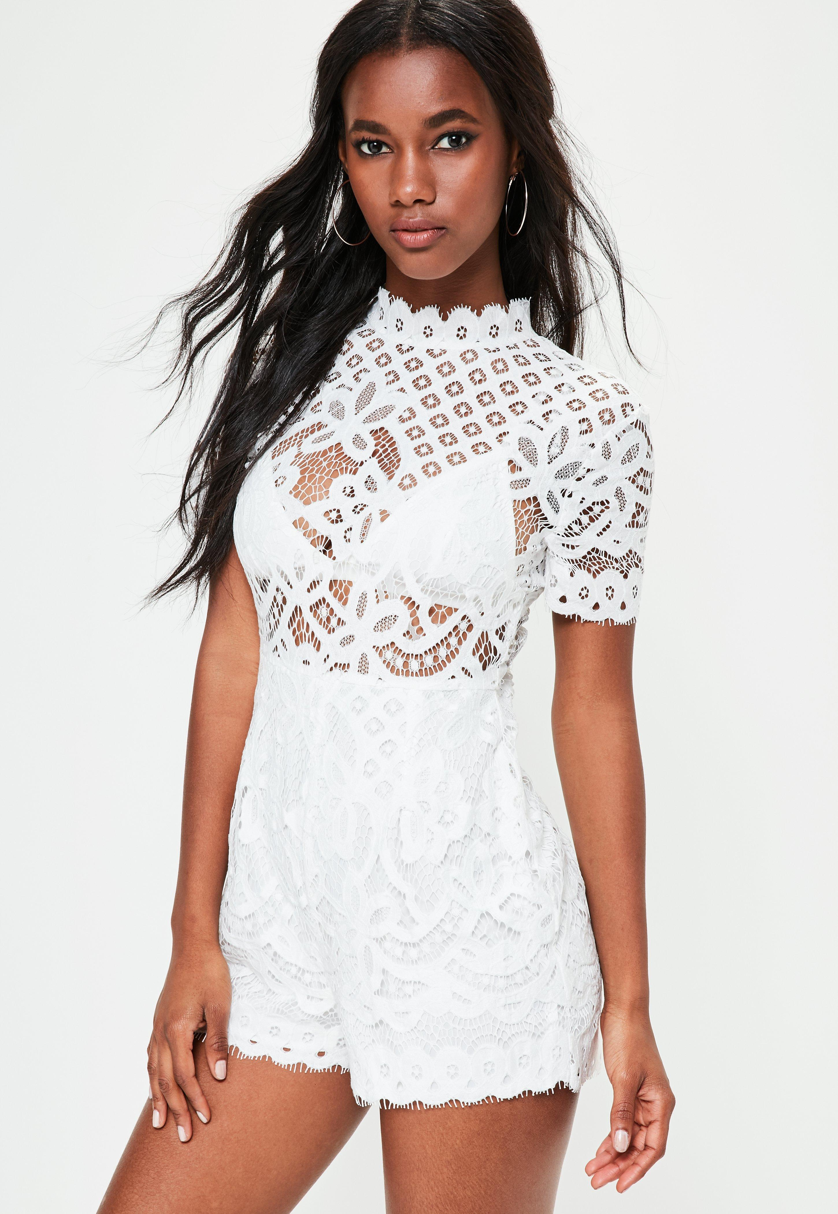 4761126e0d Missguided White High Neck Lace Short Sleeve Playsuit in White - Lyst