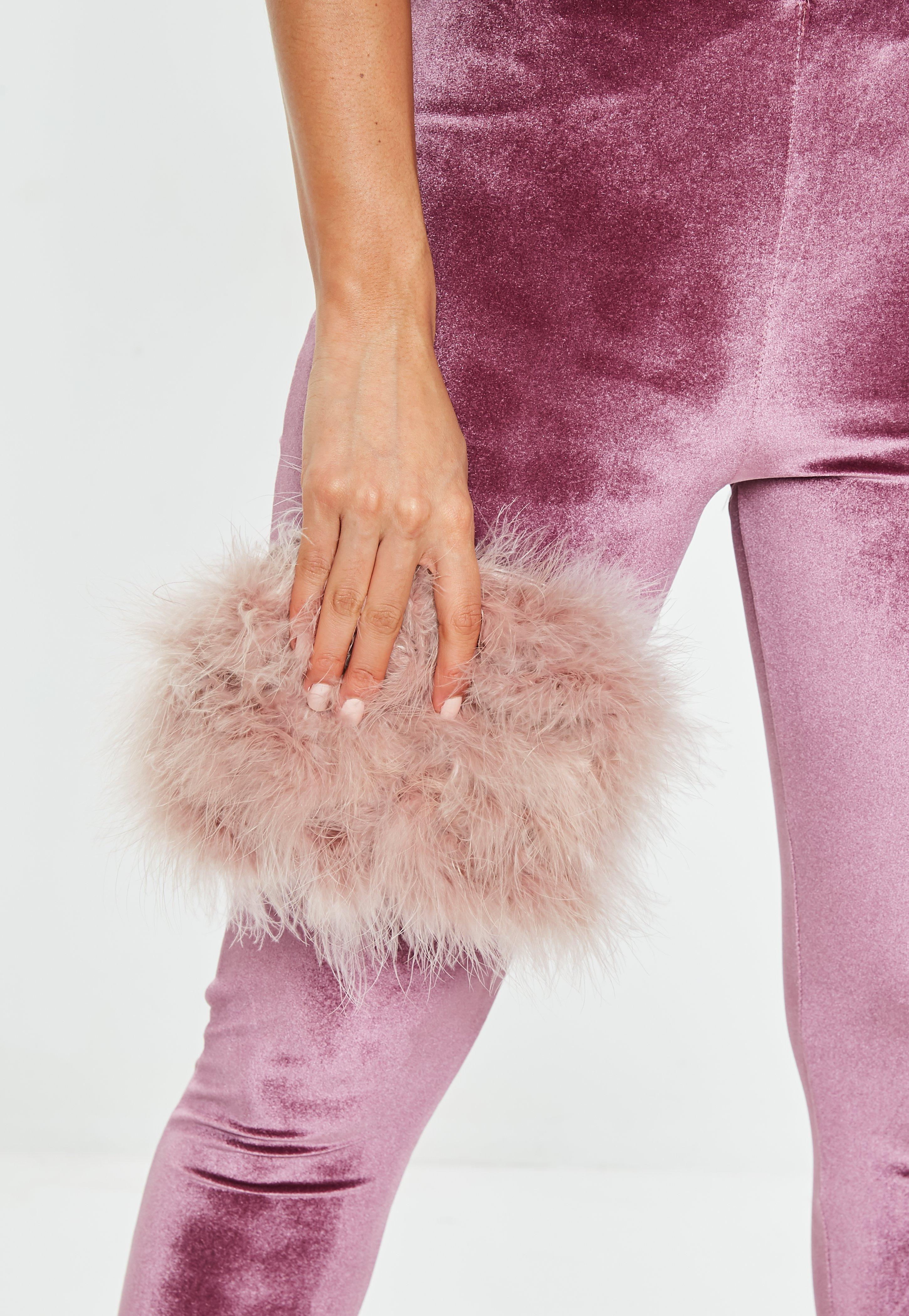 Missguided Blush Round Feather Clutch Bag in Pink - Lyst b6171ce84d337