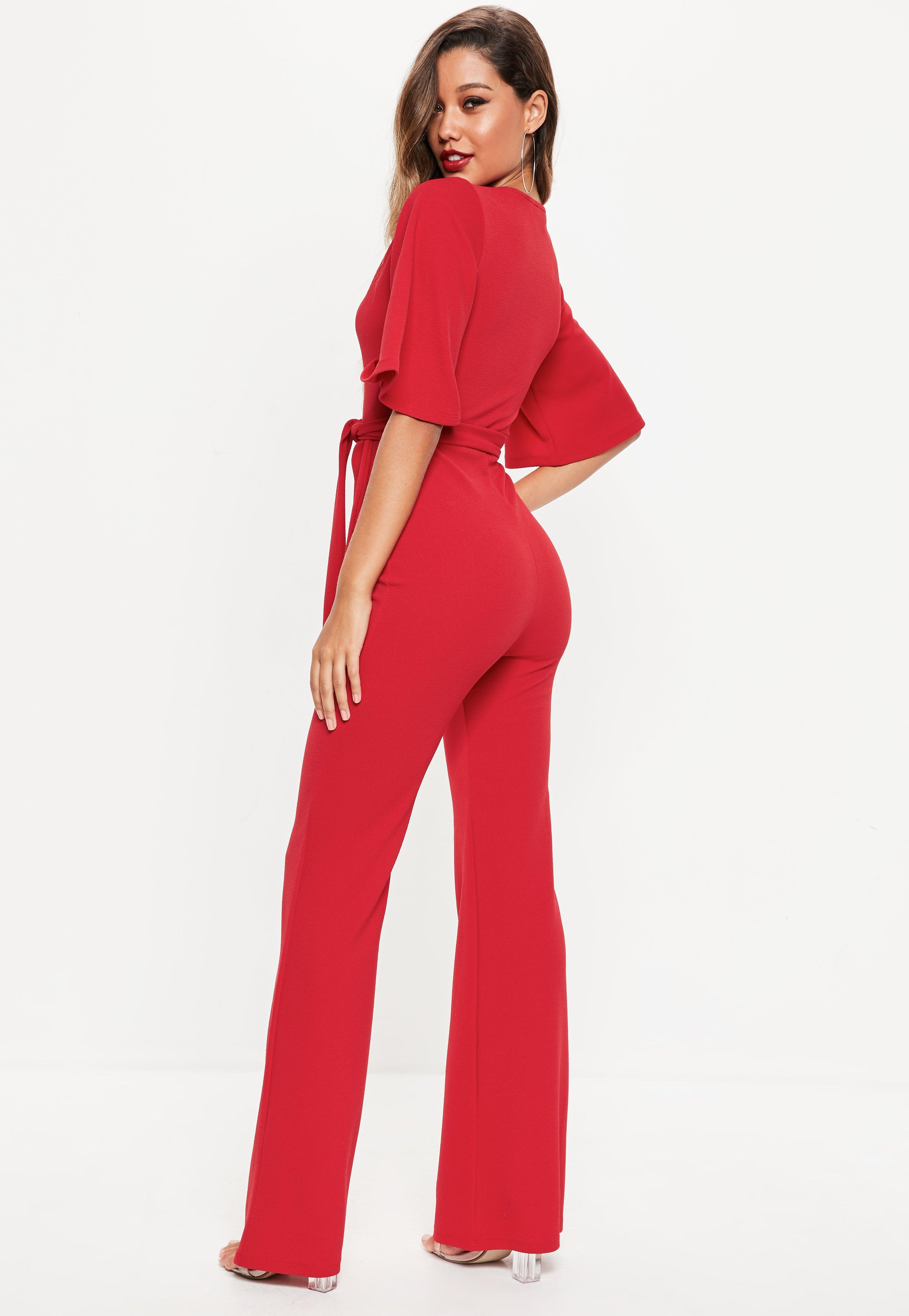 d81931e2304 Lyst - Missguided Red Kimono Sleeve Plunge Jumpsuit in Red