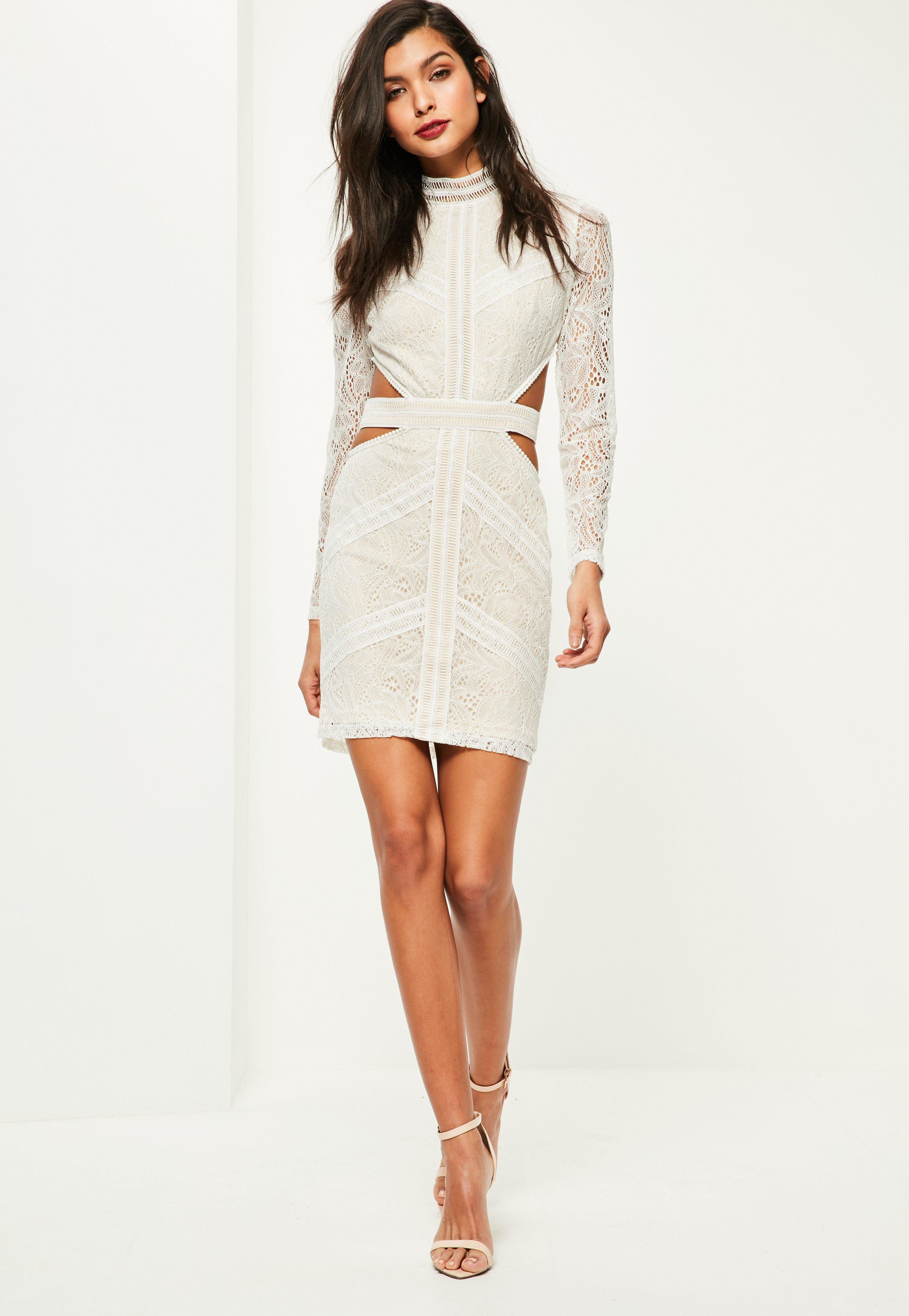 c7a54fea9fe24 Lyst - Missguided White Lace Waist Cut Out Long Sleeve Bodycon Dress ...
