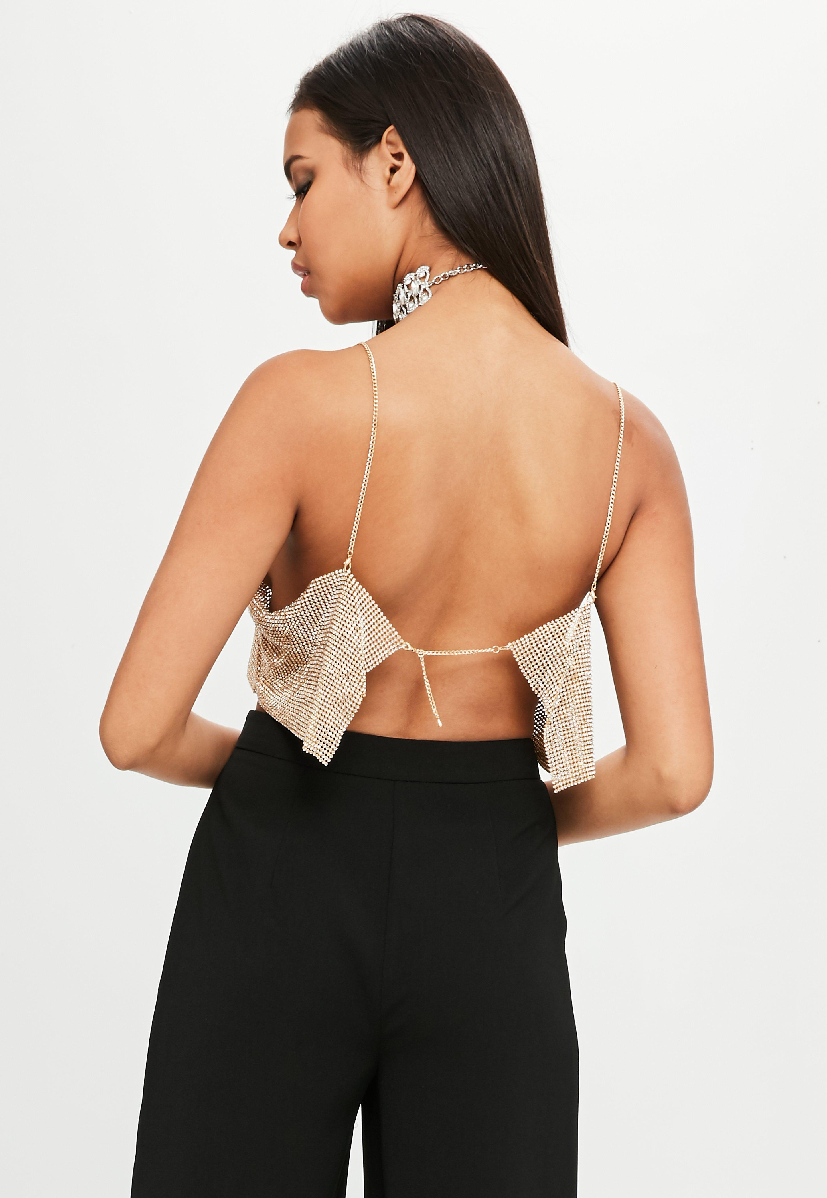 315f377d1cc149 Lyst - Missguided Carli Bybel X Gold Chain Mail Bandeau Bralet in ...