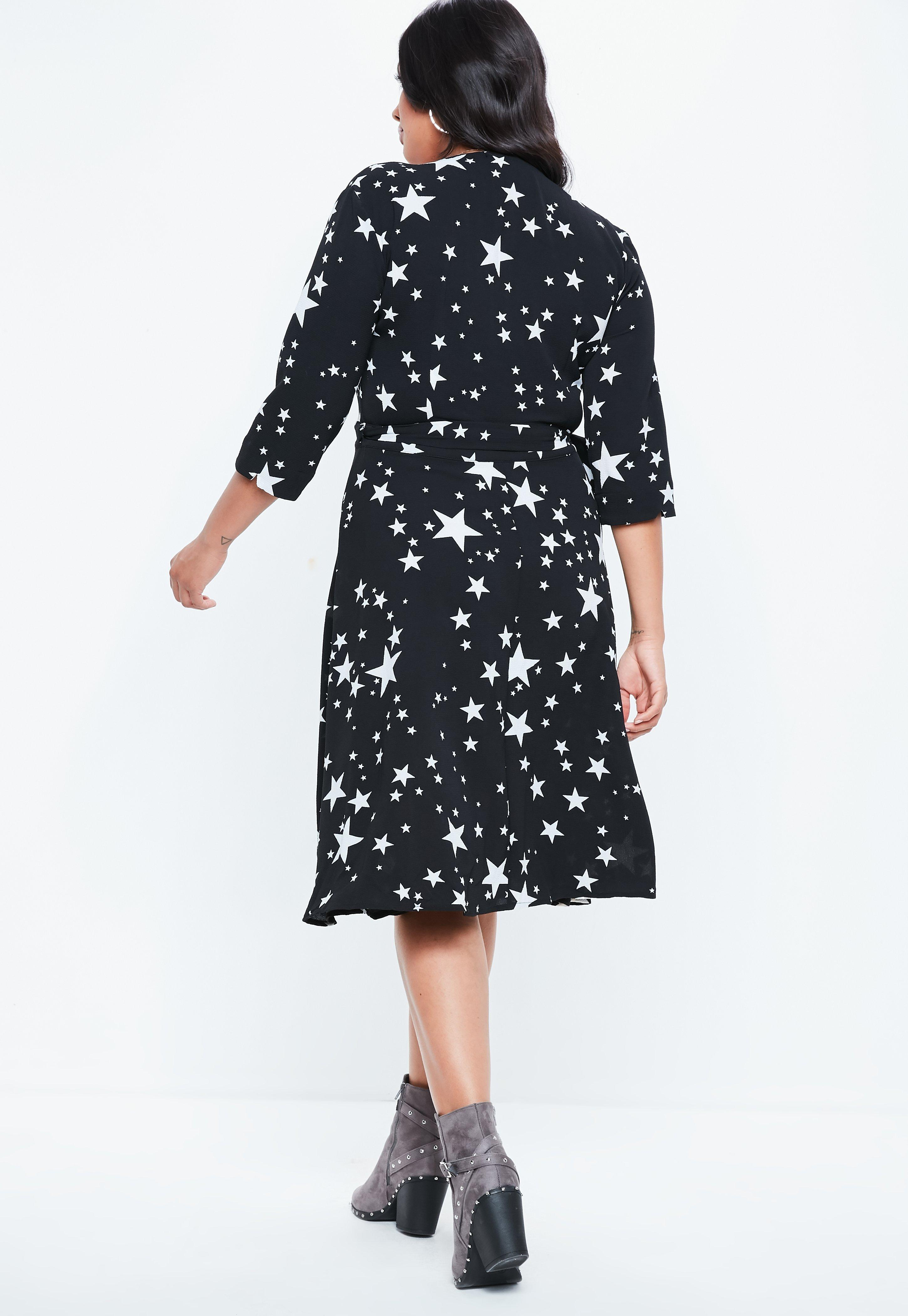 6fe292fc16ba Missguided Curve Black Side Wrap Star Print Midi Dress in Black - Lyst