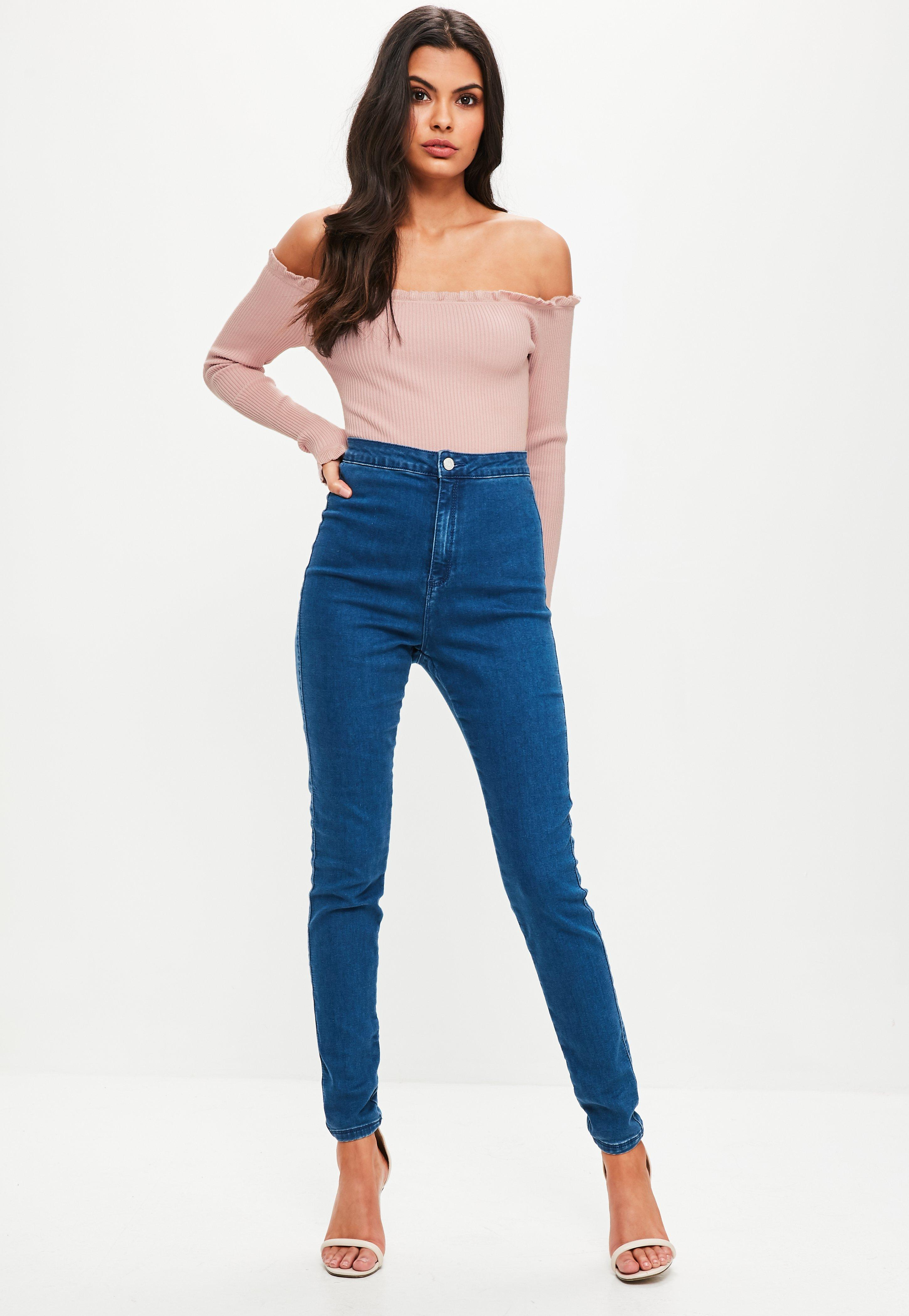 fdefe8ec0a Lyst - Missguided Pink Frill Bardot Knitted Bodysuit in Pink