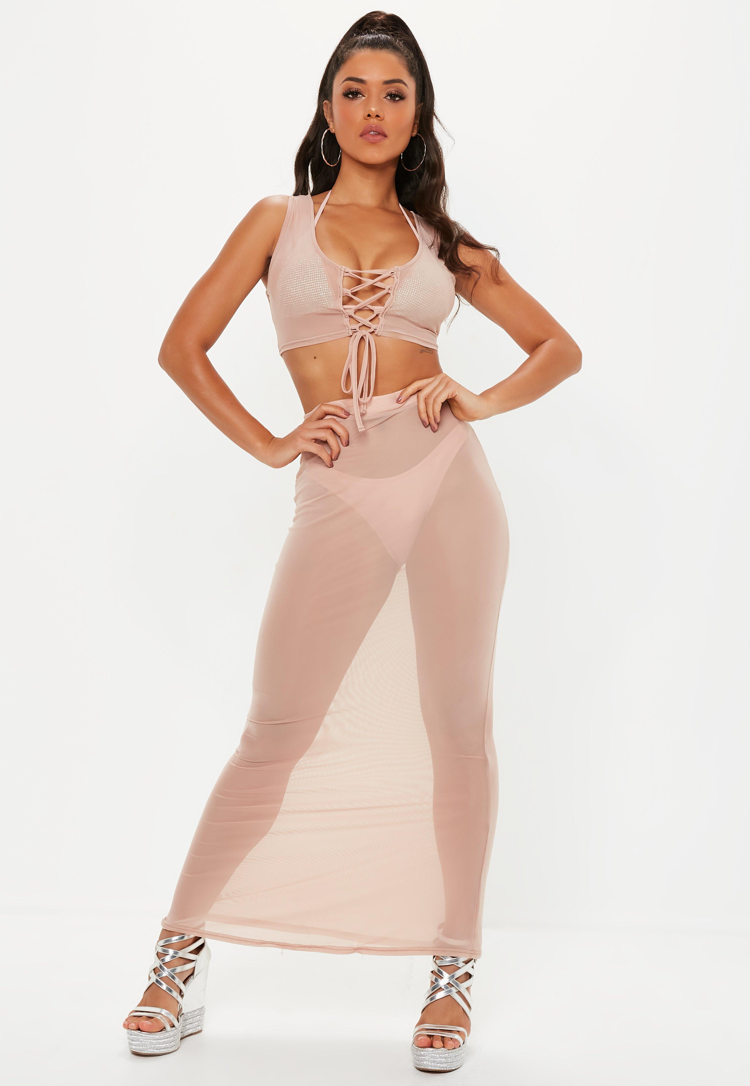 dbbd038d531 Lyst - Missguided Nude Mesh Lace Up Vest in Natural