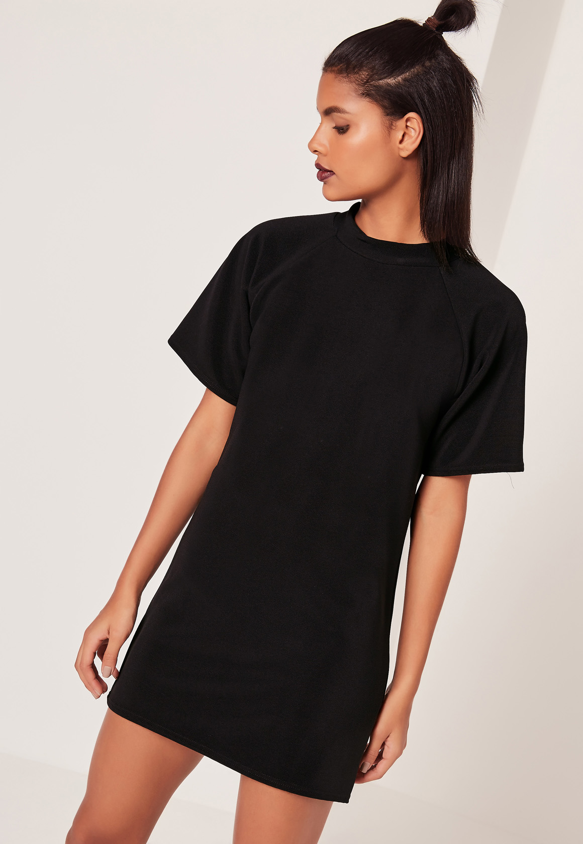 missguided short sleeve oversized t shirt dress black in