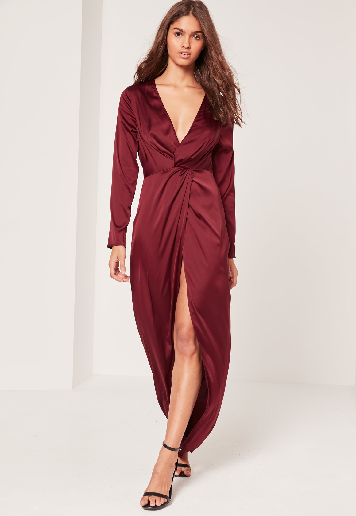 Missguided satin plunge maxi dress burgundy in blue lyst