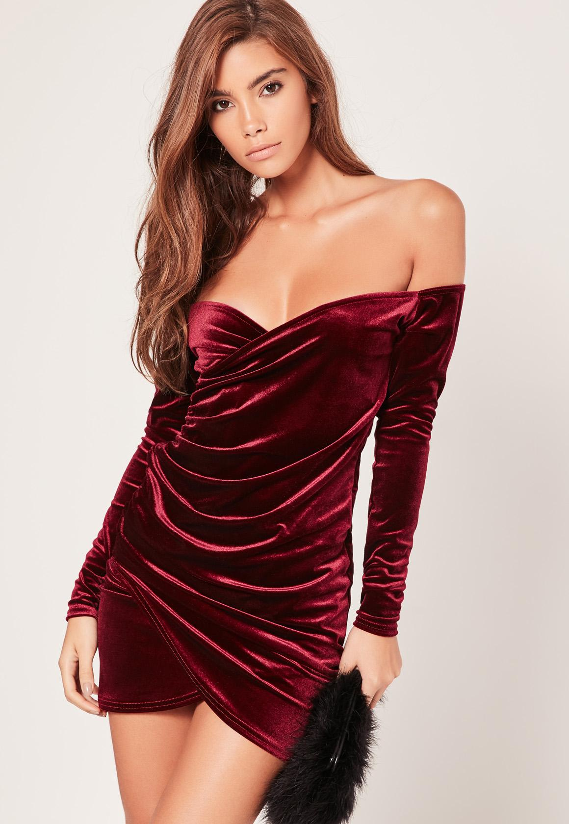 Missguided Bardot Wrap Long Sleeve Velvet Dress Burgundy