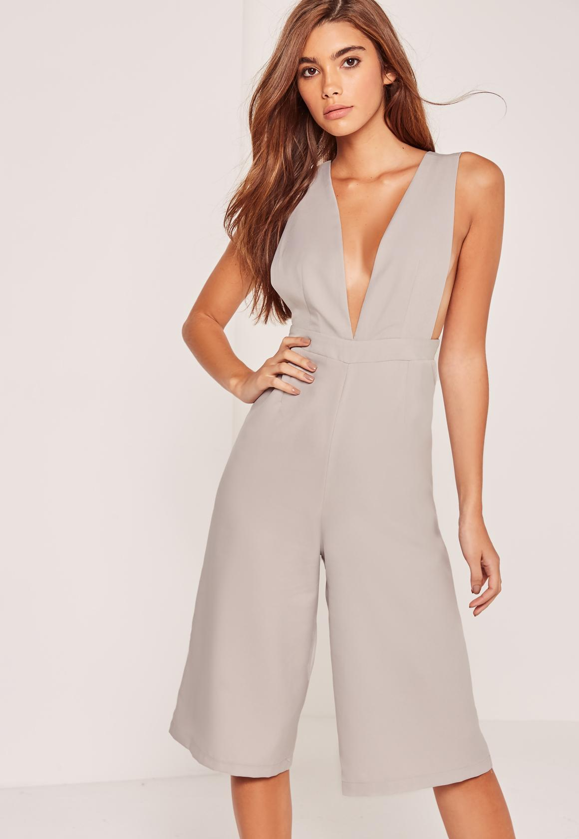 f00816220277 Lyst - Missguided Crepe Side Boob Culotte Jumpsuit Grey in Gray