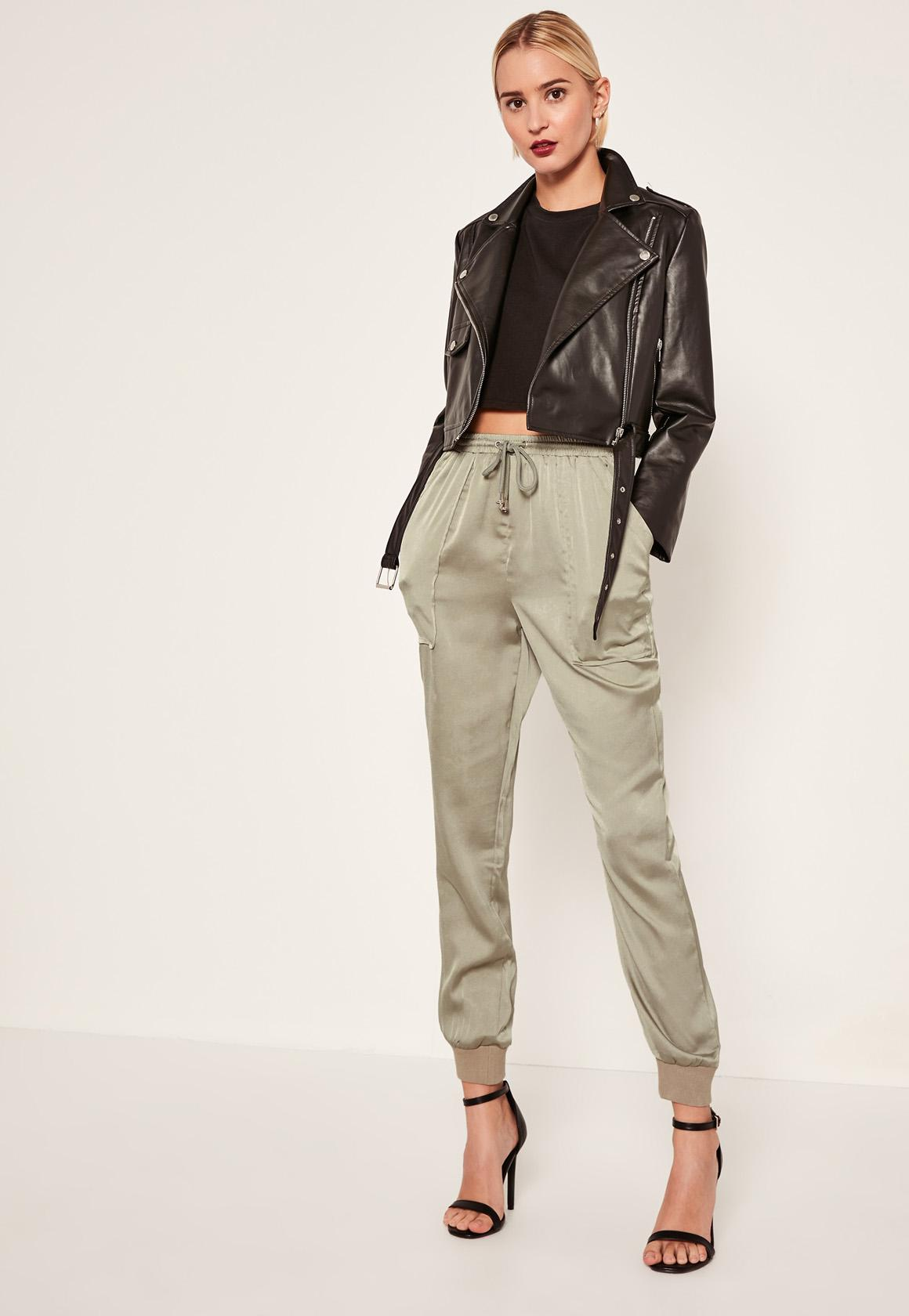 Missguided Green Pocket Detail Cuffed Satin Joggers in ...