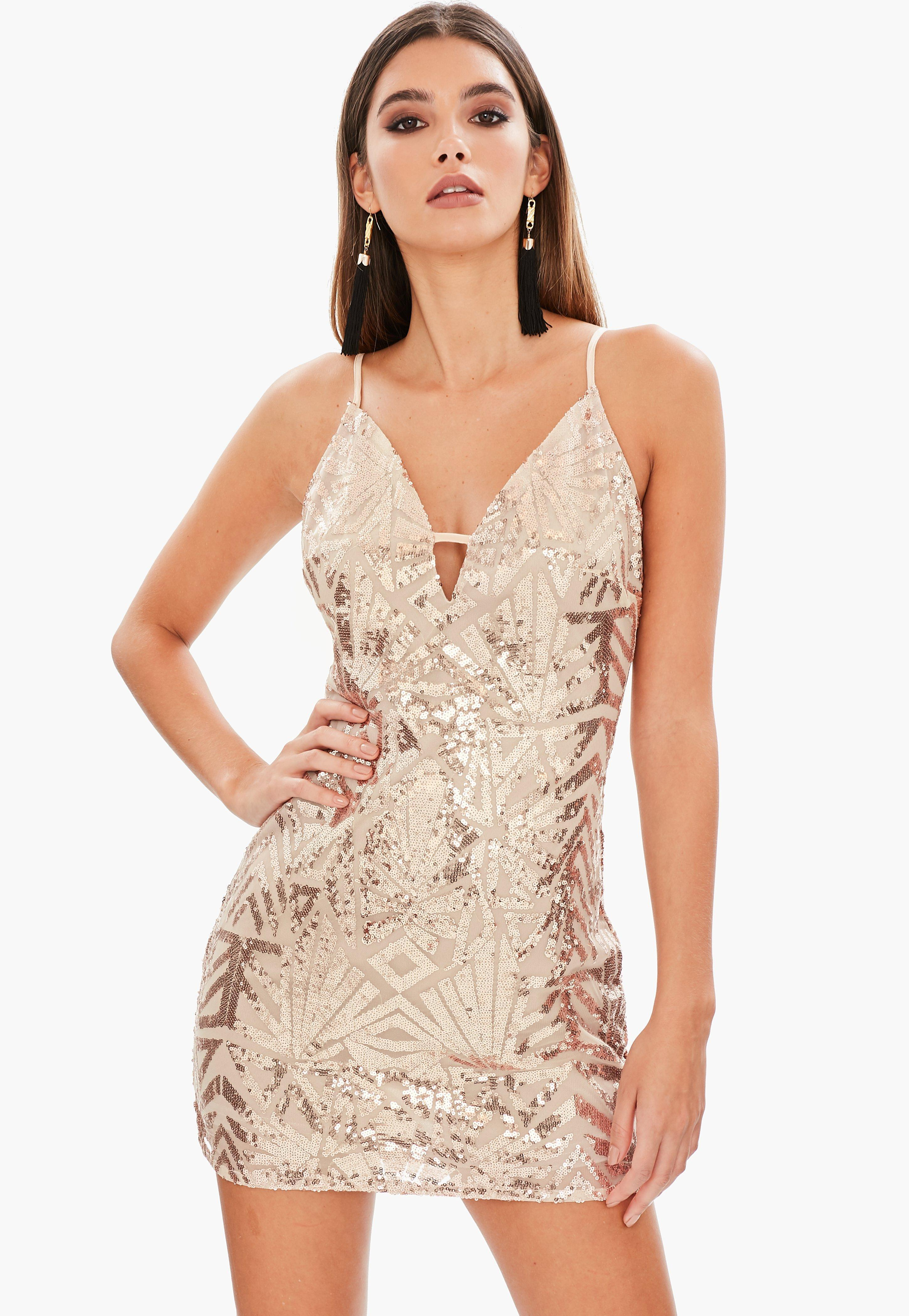 4e1a2974 Lyst - Missguided Gold Strappy Sequin Bodycon Dress in Metallic