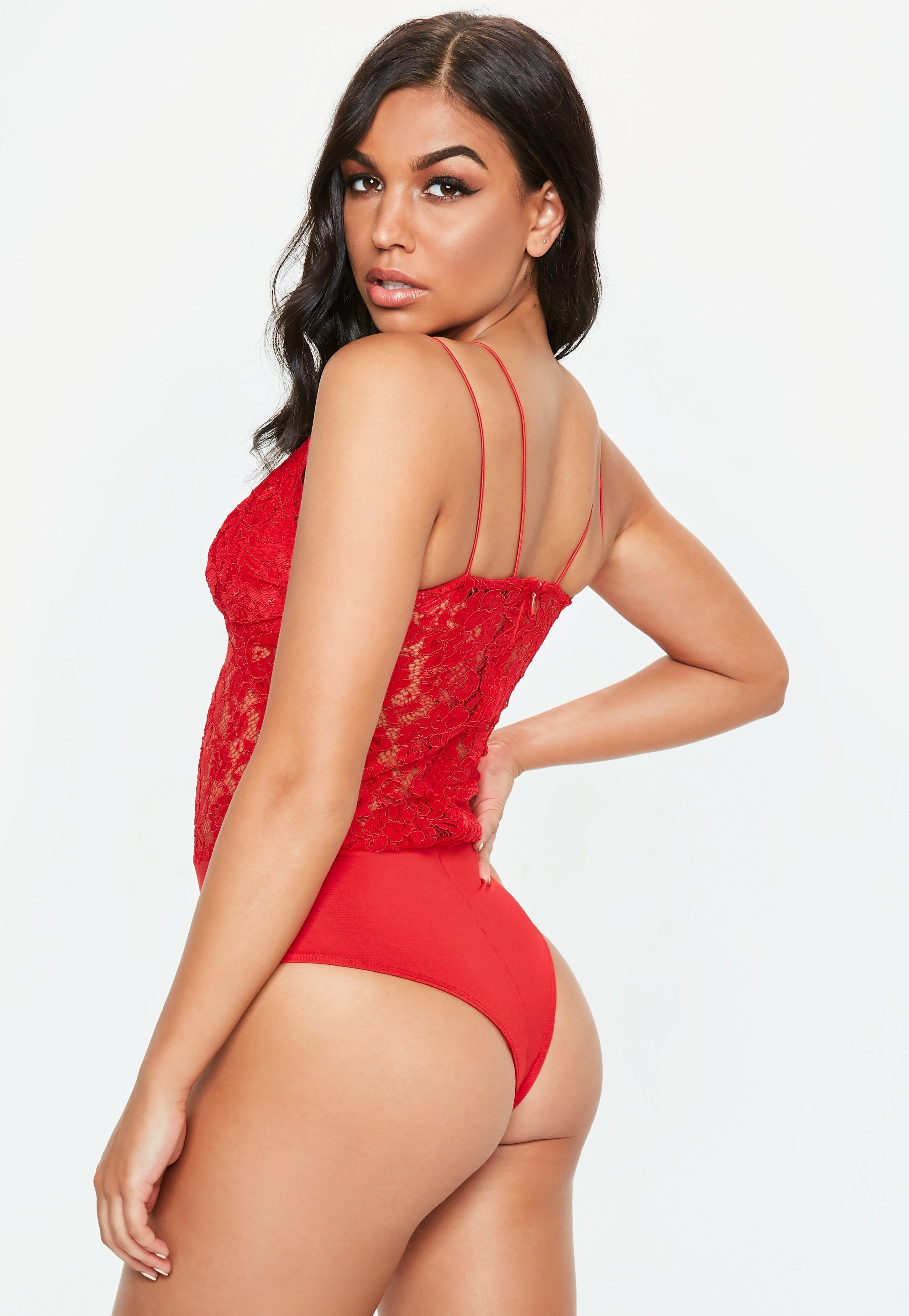 44e9156b9a Missguided - Red Corded Lace Harness Bodysuit - Lyst. View fullscreen