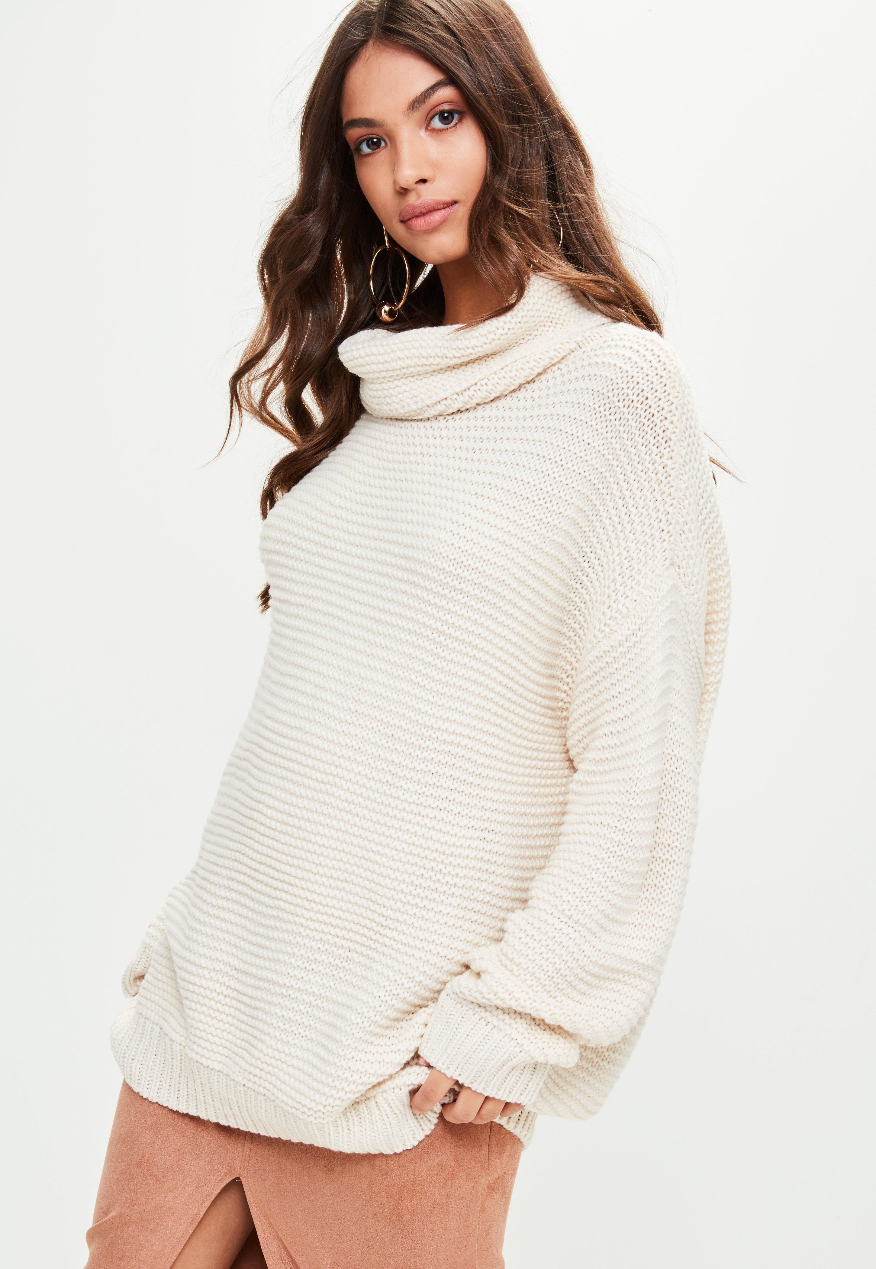 Lyst - Missguided Beige Oversized Slouchy Knitted Jumper in Natural a678cb3f2