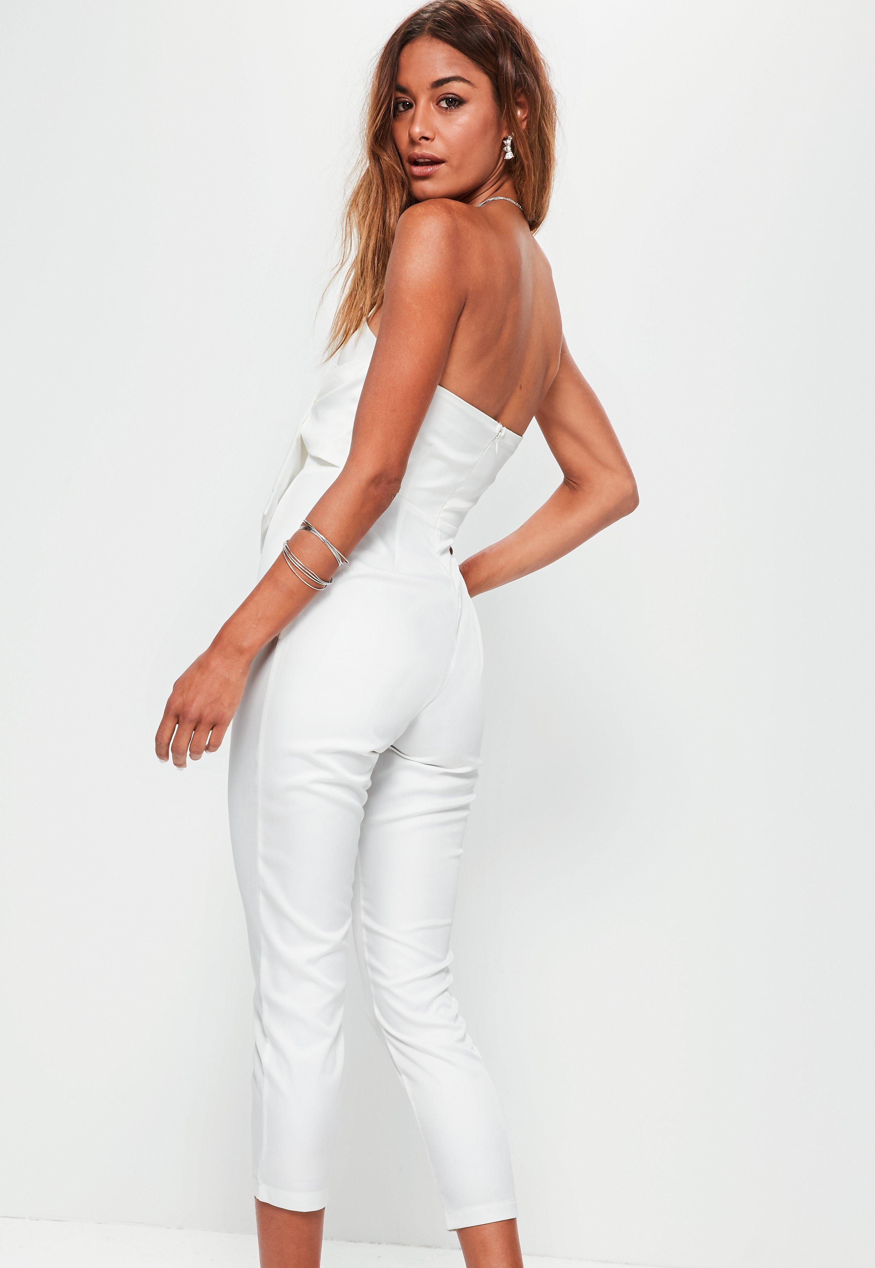 8cc5b7caf36 Lyst - Missguided Petite White Tie Front Bandeau Jumpsuit in White