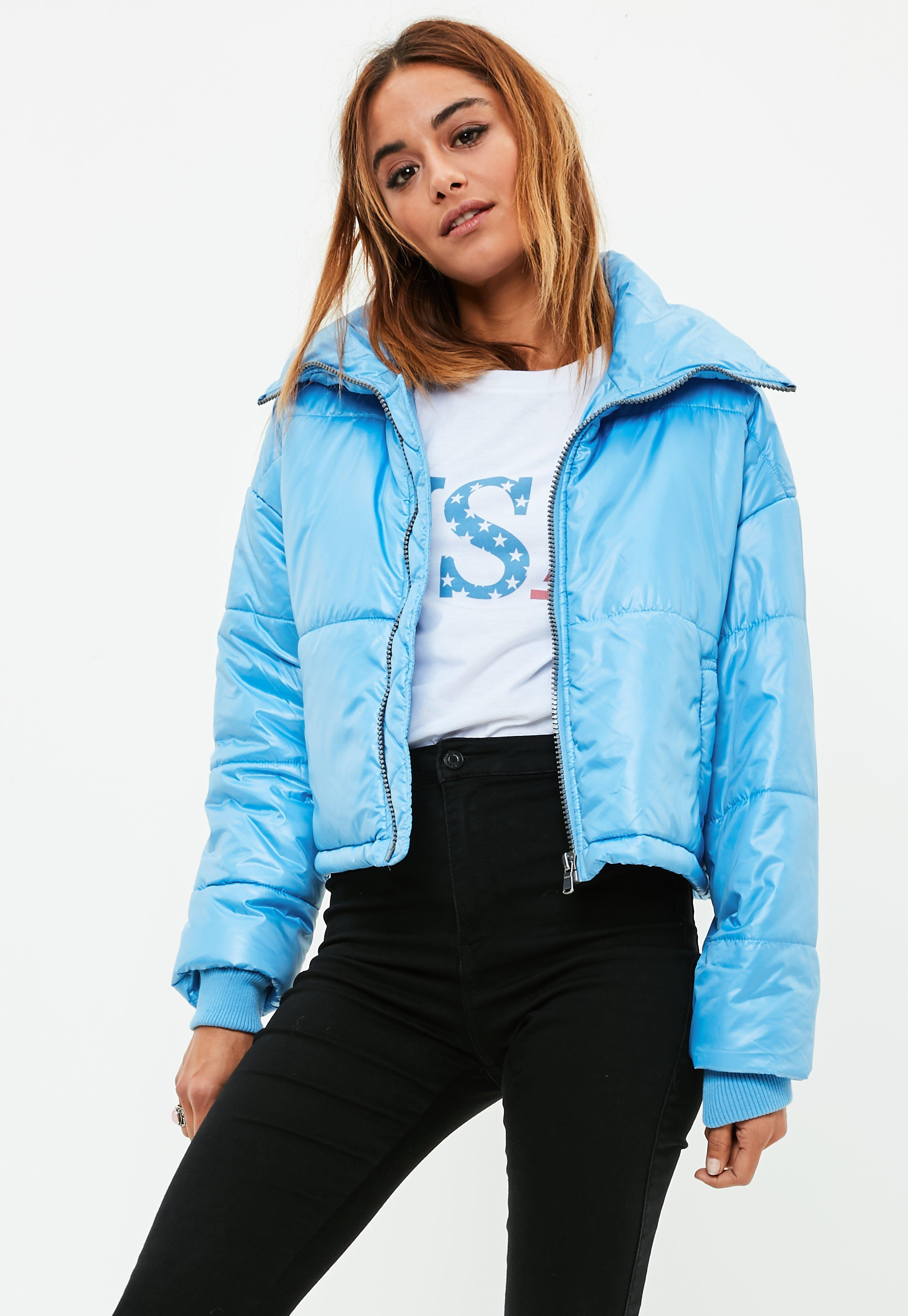 27b8ede882ce Lyst - Missguided Blue High Shine Cropped Puffer Jacket in Blue