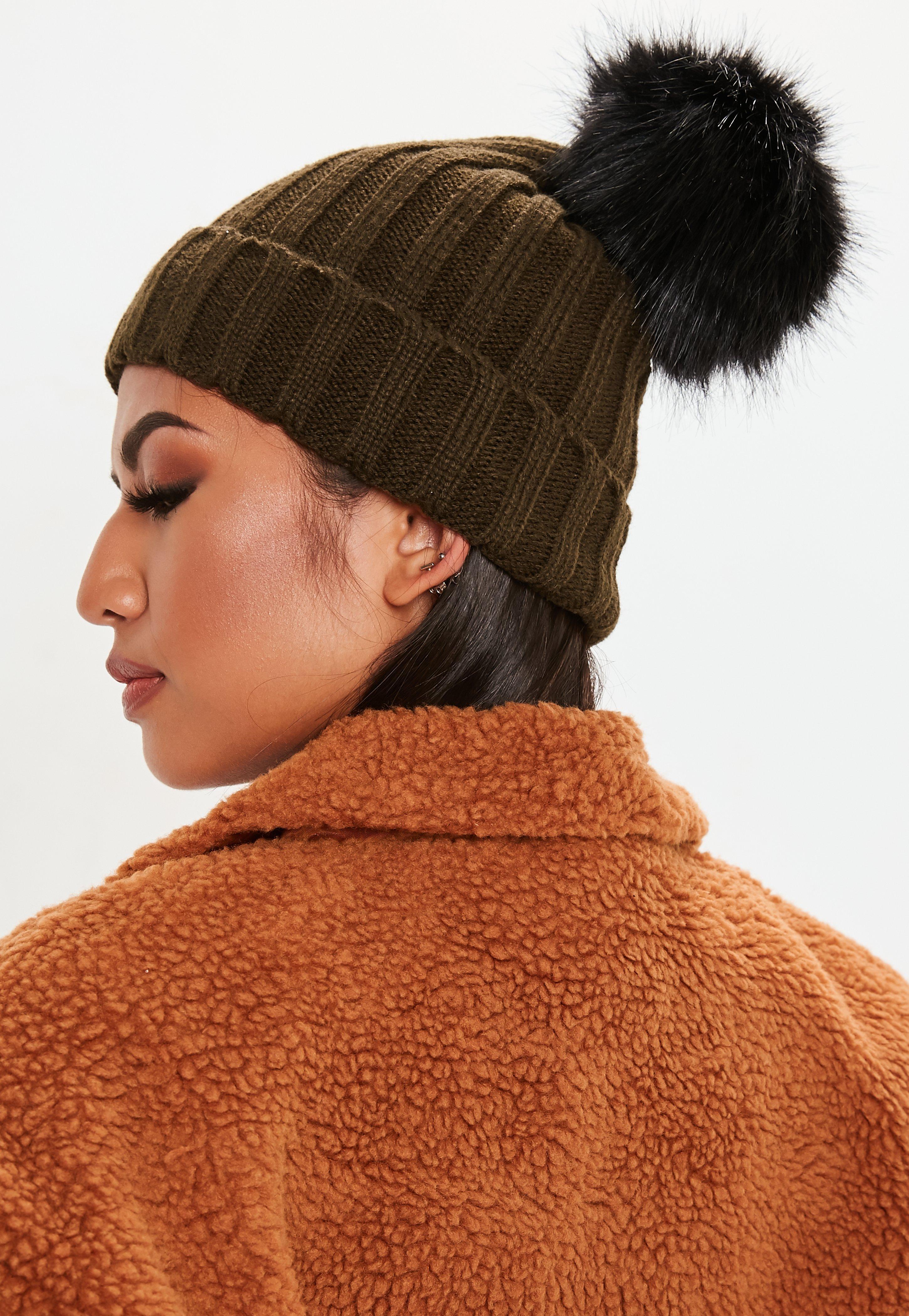 Missguided Khaki Faux Fur Pom Pom Beanie Hat - Lyst 28d1a1db2a26