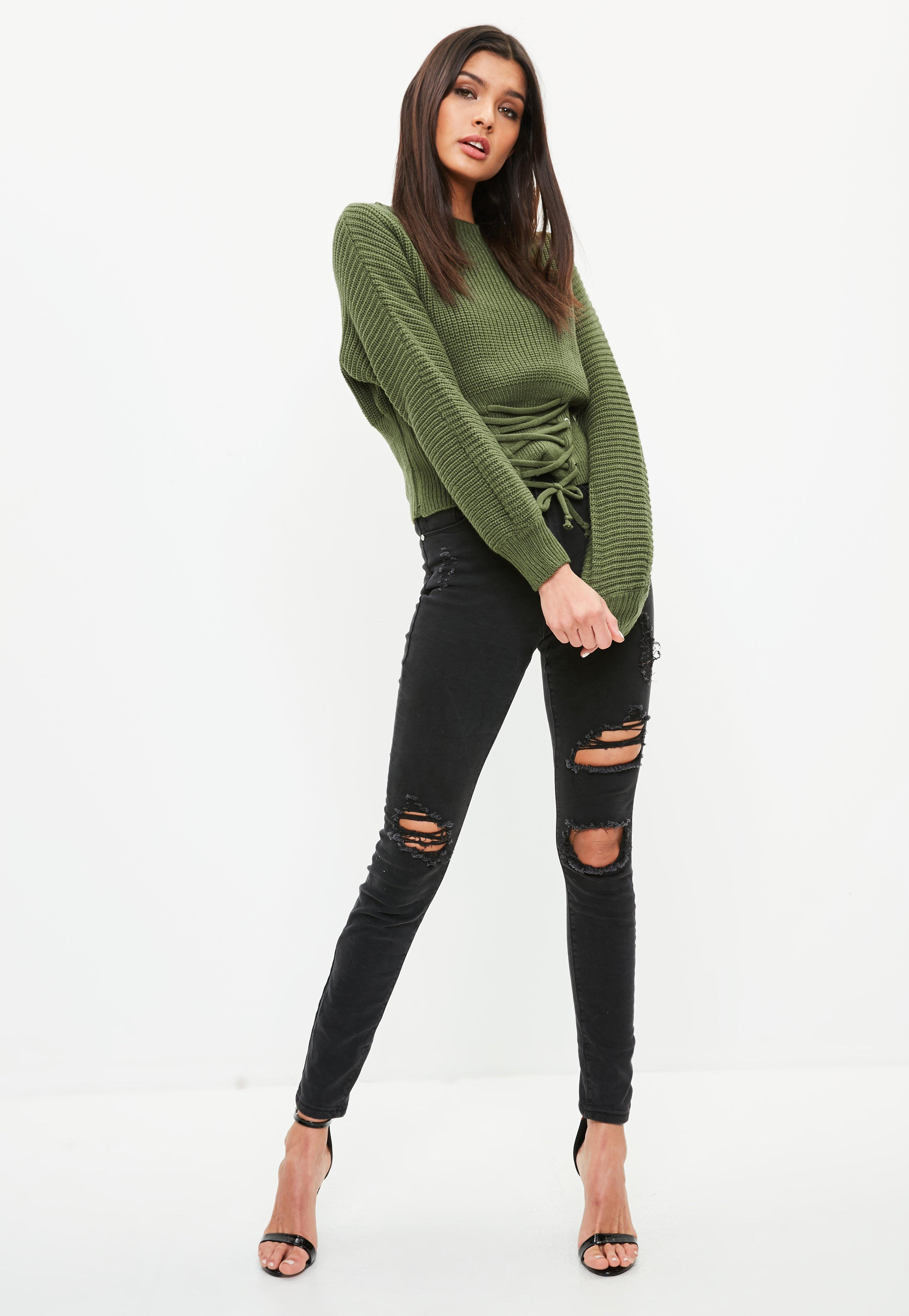 ec62b945fb0 Lyst - Missguided Green Lace Up Corset Sweater in Green