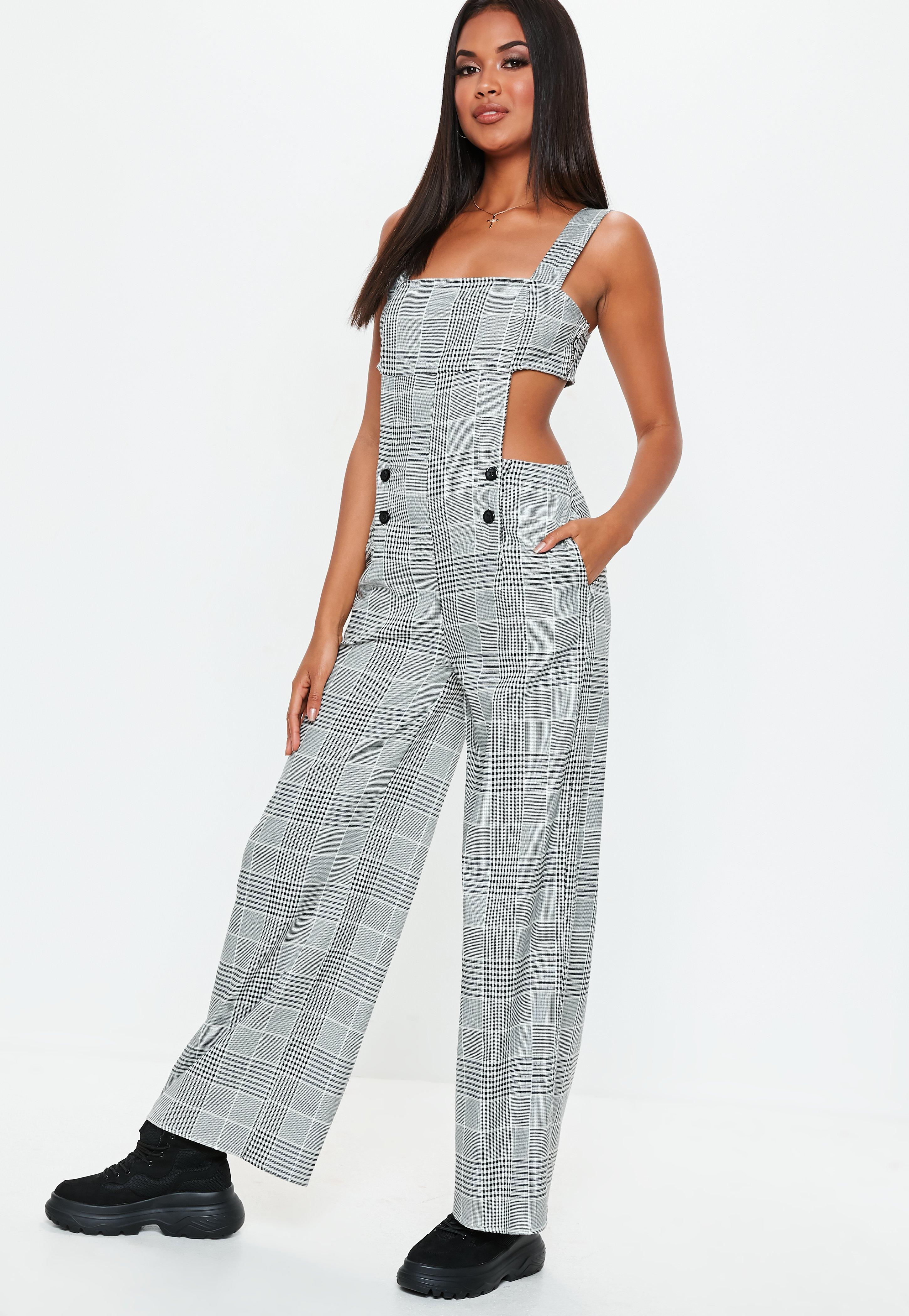 3ad48b8df7b ... Grey Check Cut Out Jumpsuit - Lyst. View fullscreen