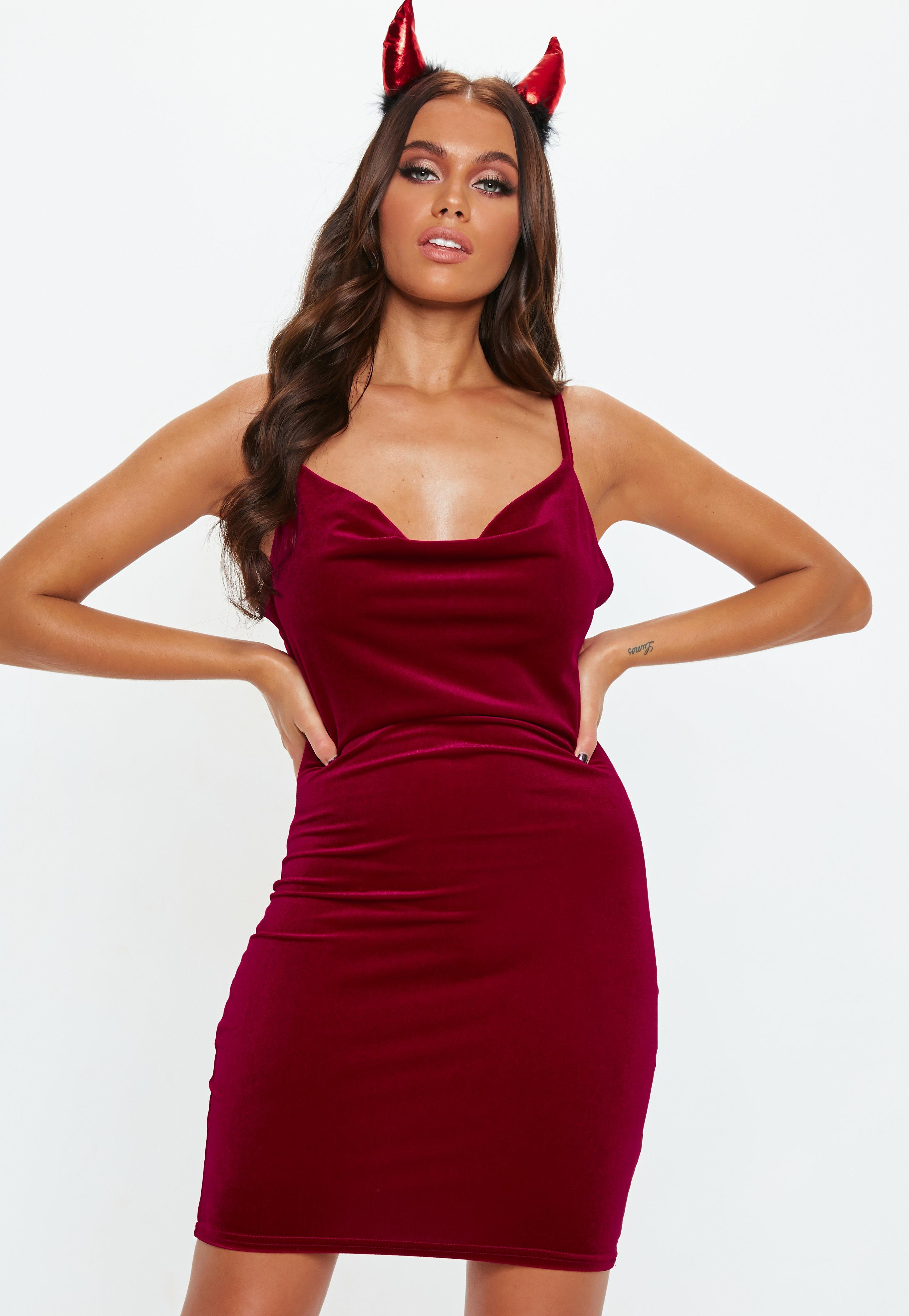 Lyst - Missguided Red Velvet Cowl Mini Dress in Red 85f8a2ac377d4
