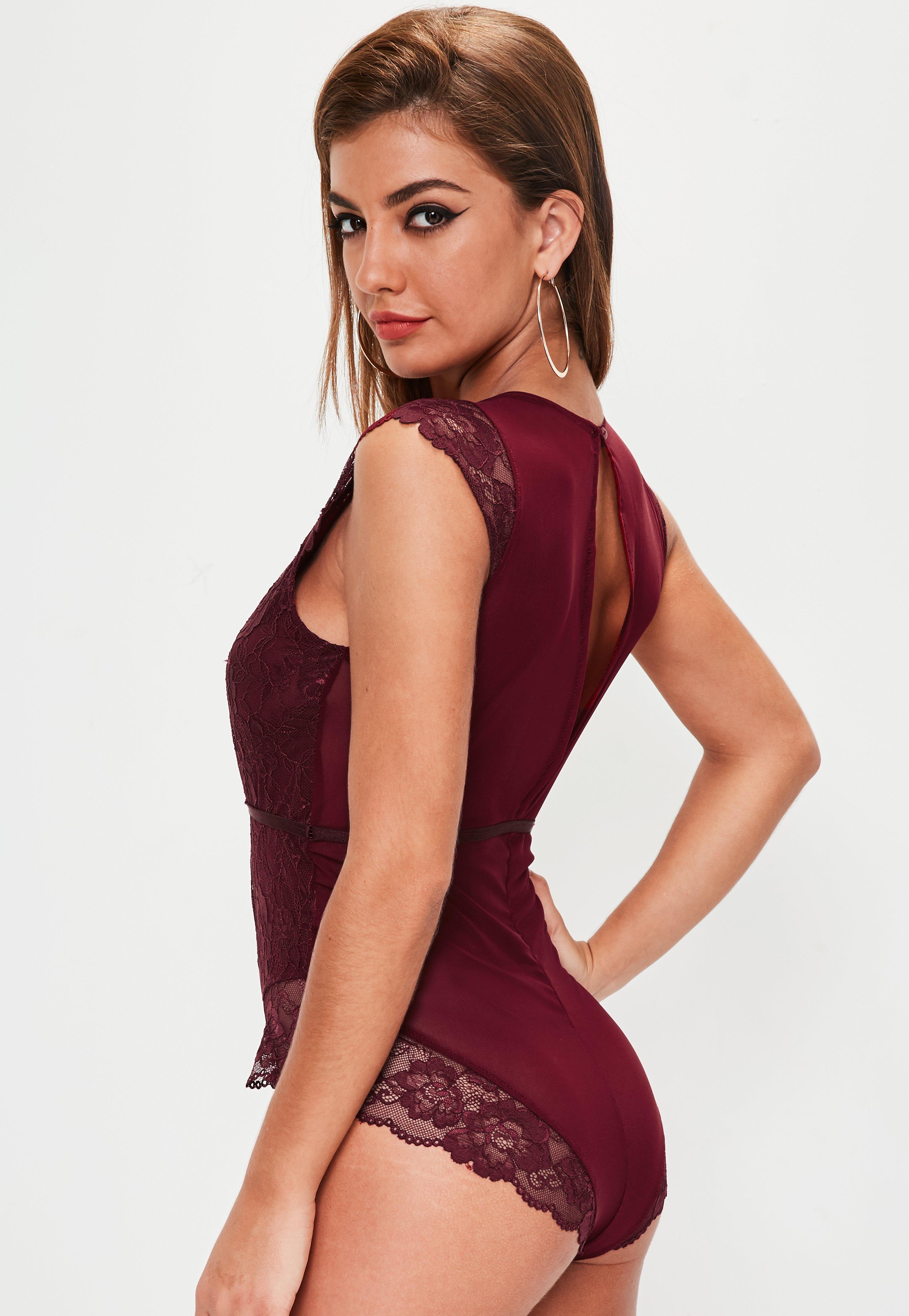 fa418e56fc Missguided Burgundy Lace Bodysuit - Lyst