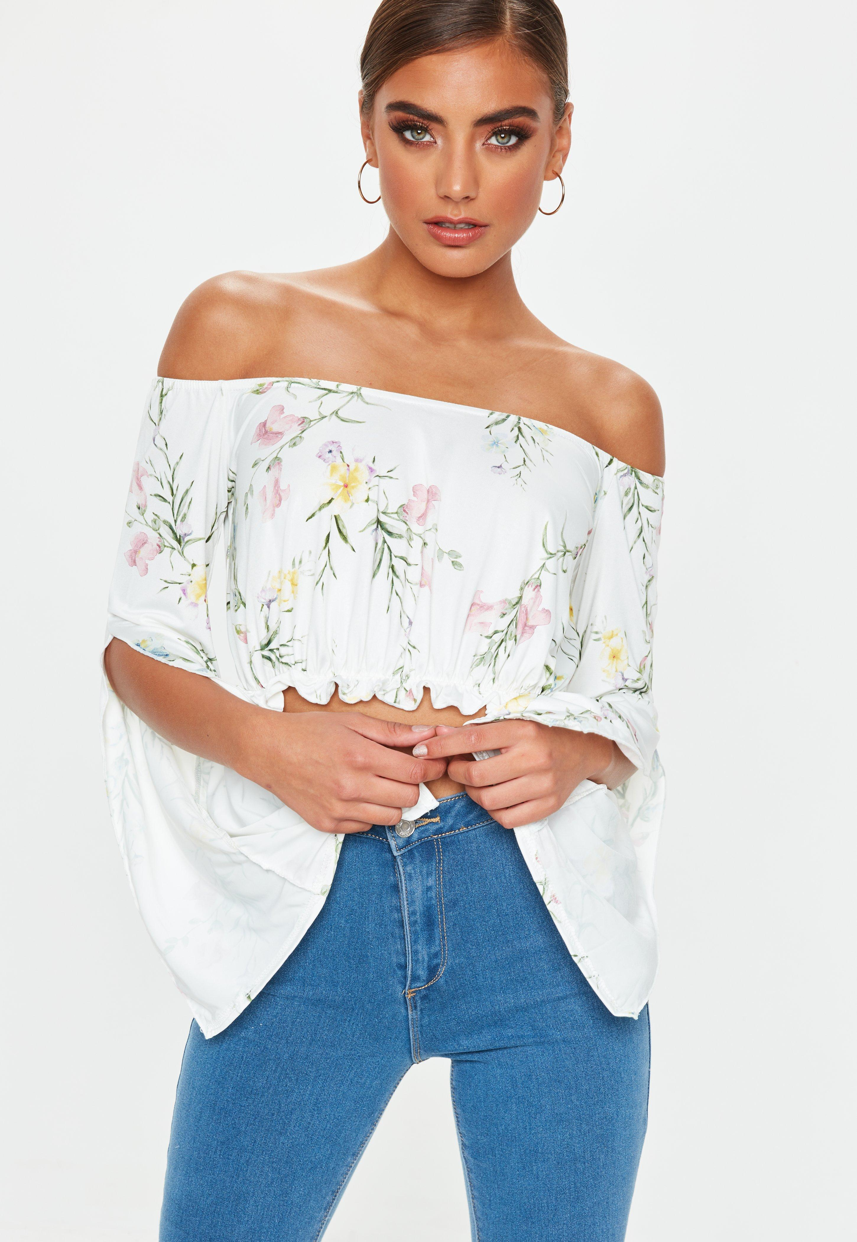 95331b6574ca5 Lyst - Missguided White Bardot Floral Crop Top in White