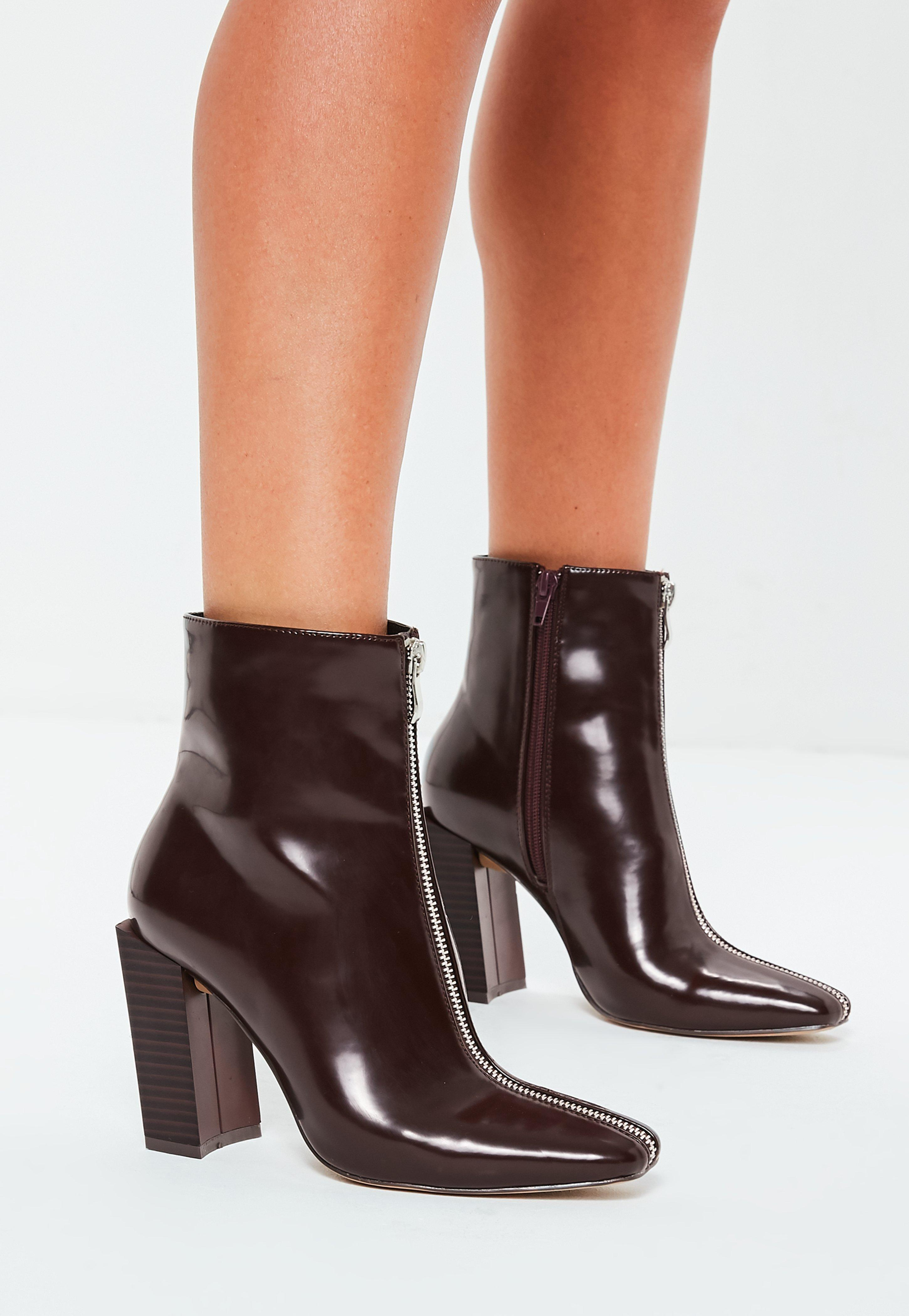 06cc36a3cbd Missguided. Women s Burgundy Feature Heel Full Zip Ankle Boots