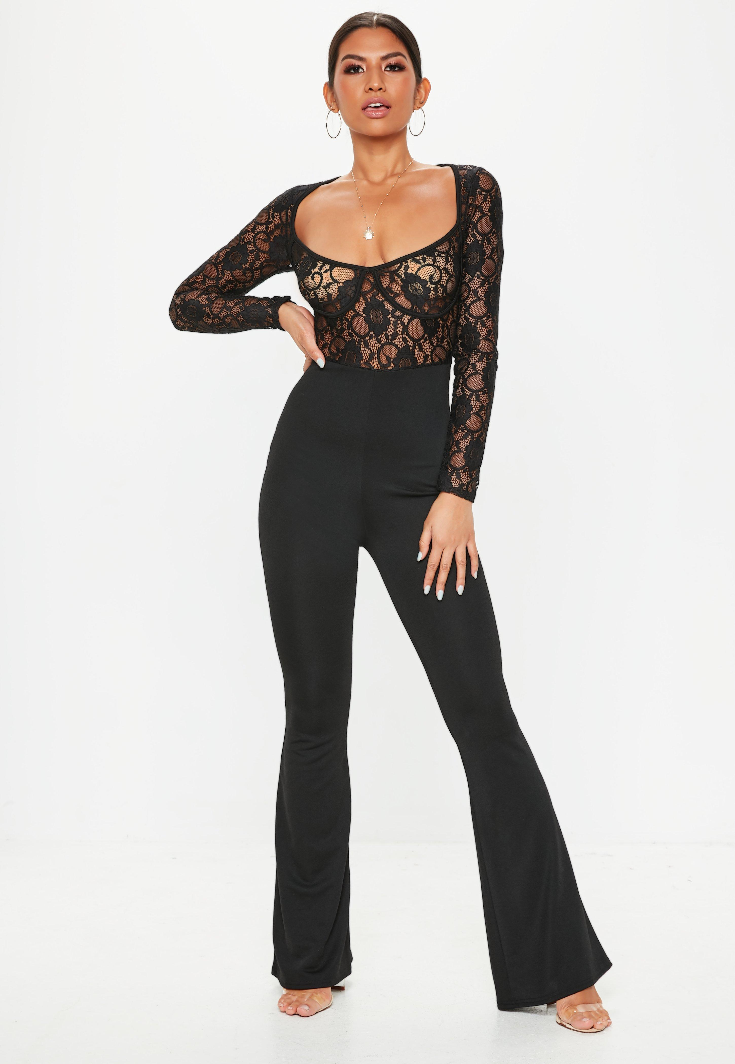 98686e32a4 Lyst - Missguided Black Lace Cupped Jumpsuit in Black