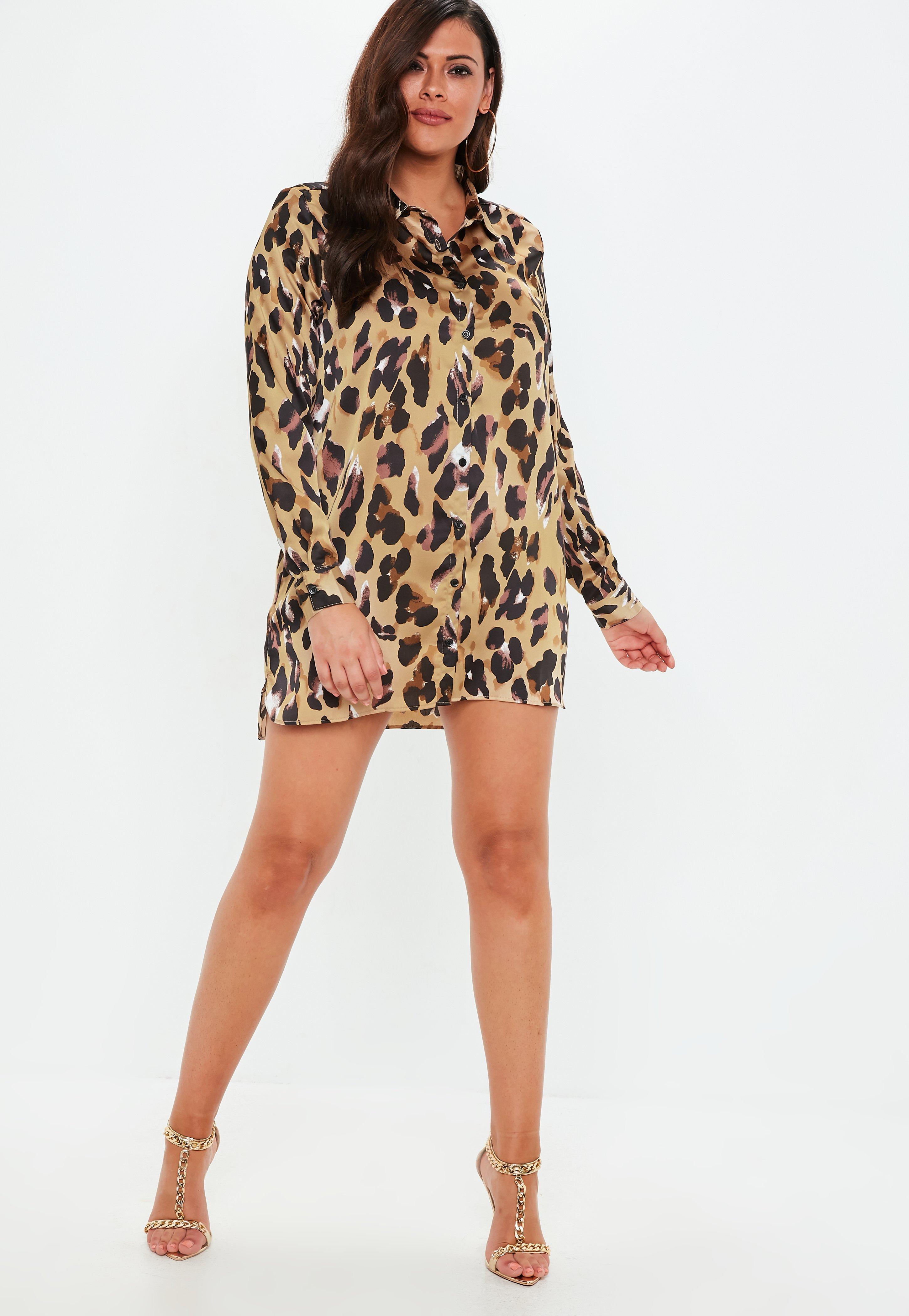 4df0682346 Missguided Plus Size Leopard Print Satin Shirt Dress in Brown - Lyst