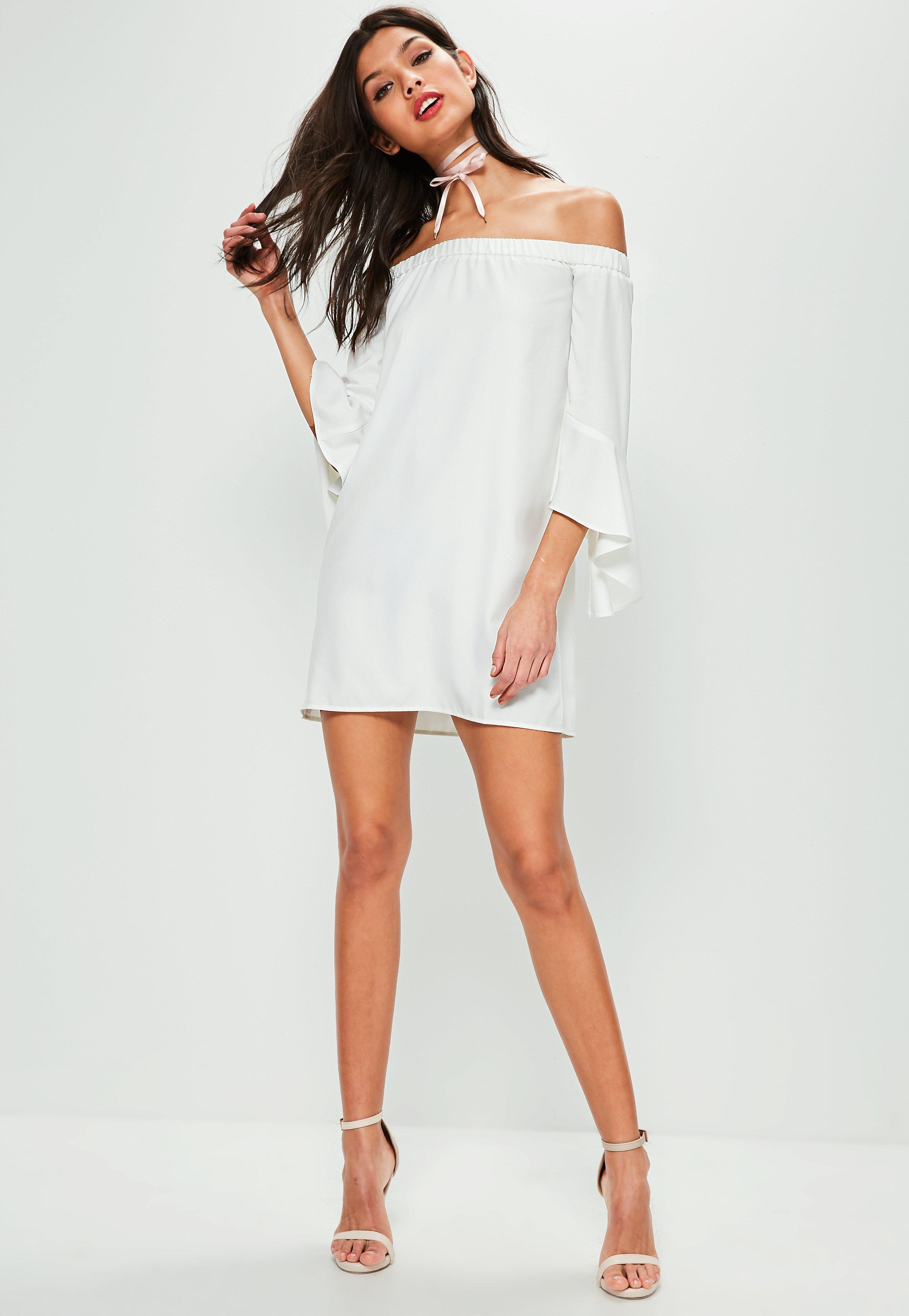 c09a7c6eca49 Lyst - Missguided Petite White Bardot Ruffle Sleeve Shift Dress in White
