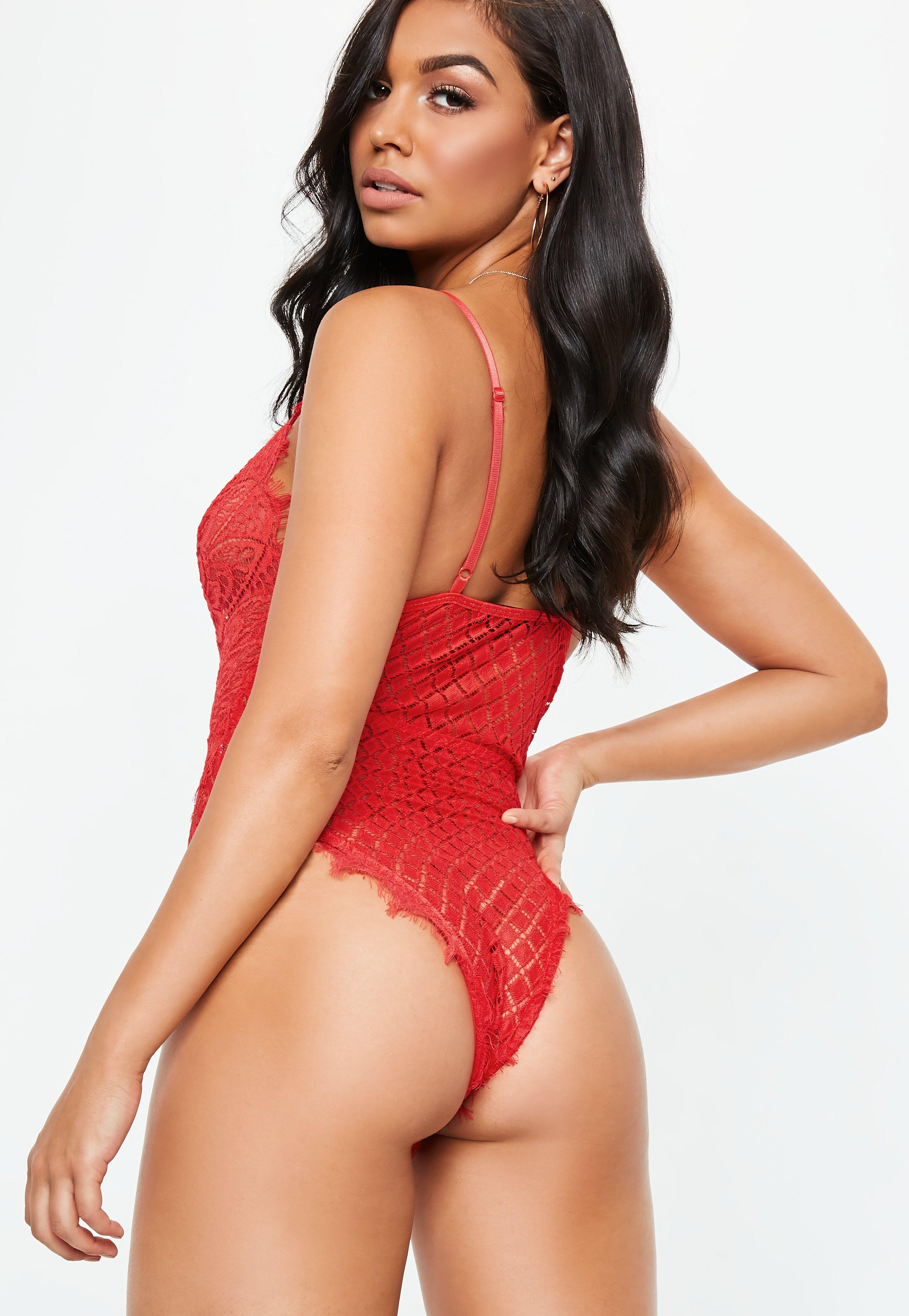 e976e099b9 Lyst - Missguided Red All Over Eyelash Lace Bodysuit in Red
